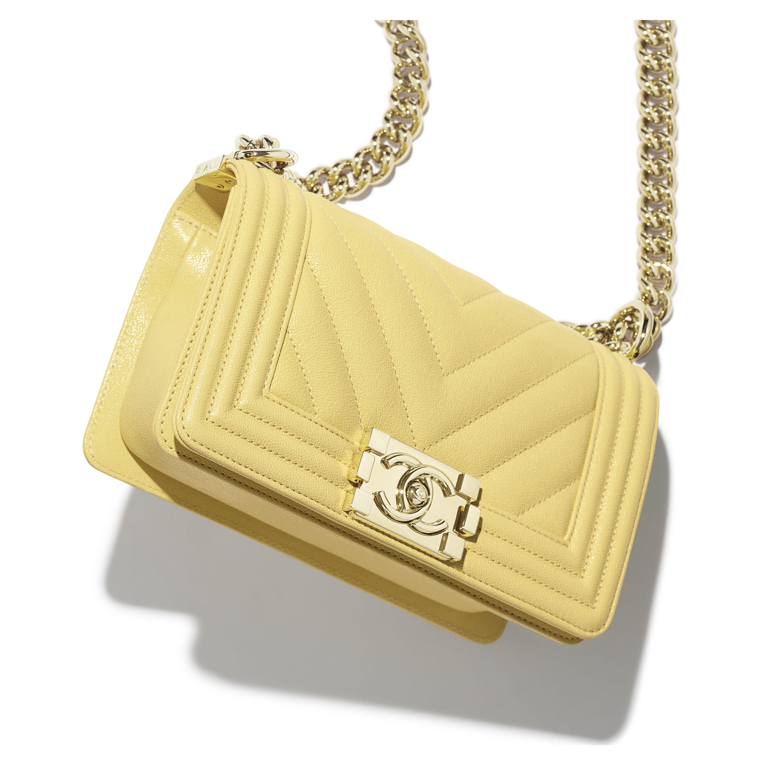 Small BOY CHANEL Handbag - Yellow - Grained Calfskin & Gold-Tone Metal - Extra view - see standard sized version