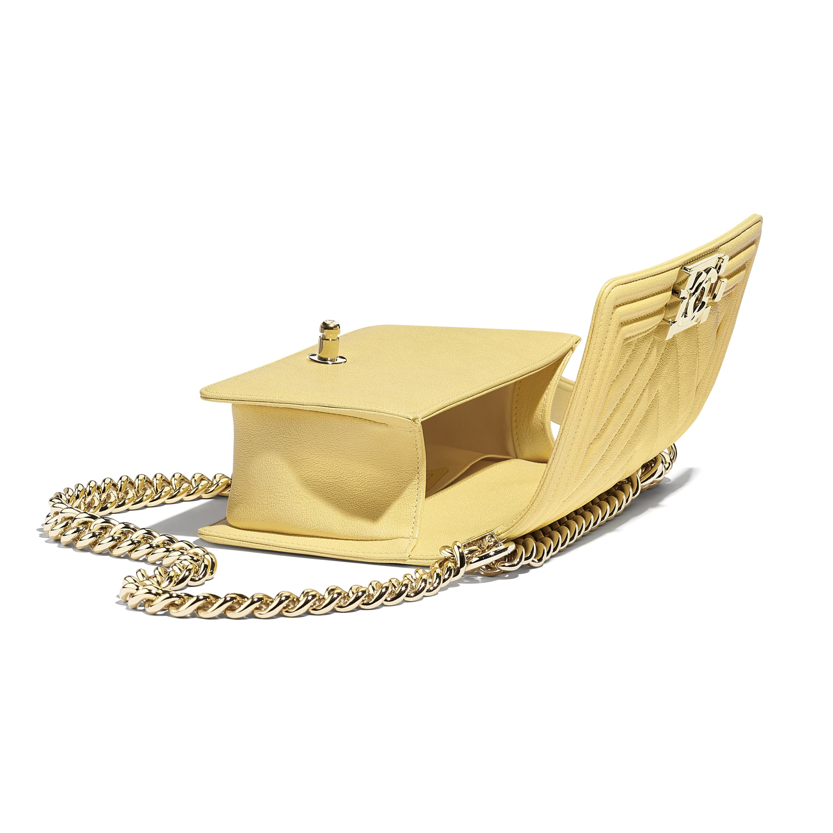 Small BOY CHANEL Handbag - Yellow - Grained Calfskin & Gold-Tone Metal - Other view - see standard sized version