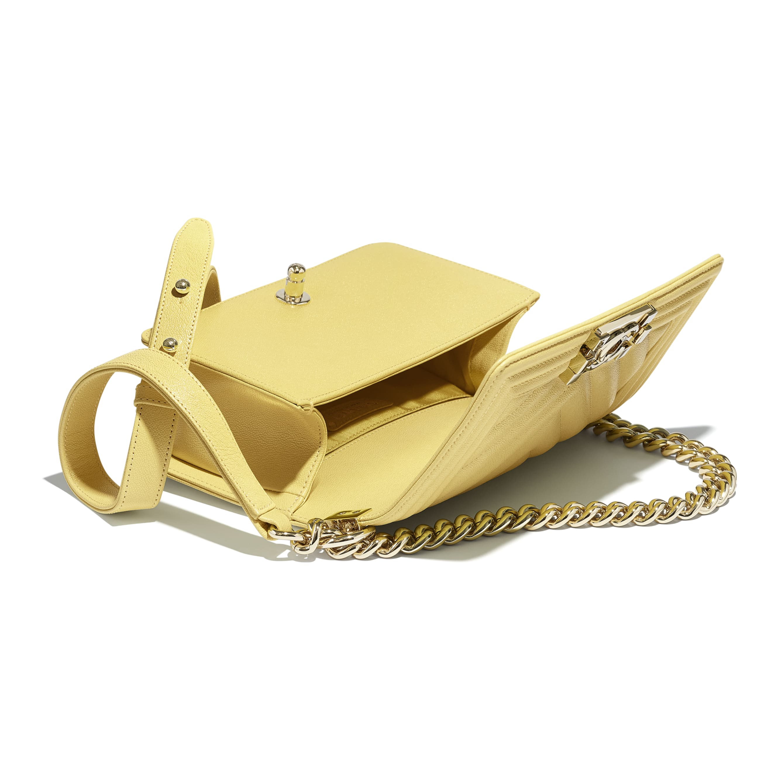 Small BOY CHANEL Handbag - Yellow - Grained Calfskin & Gold-Tone Metal - CHANEL - Other view - see standard sized version