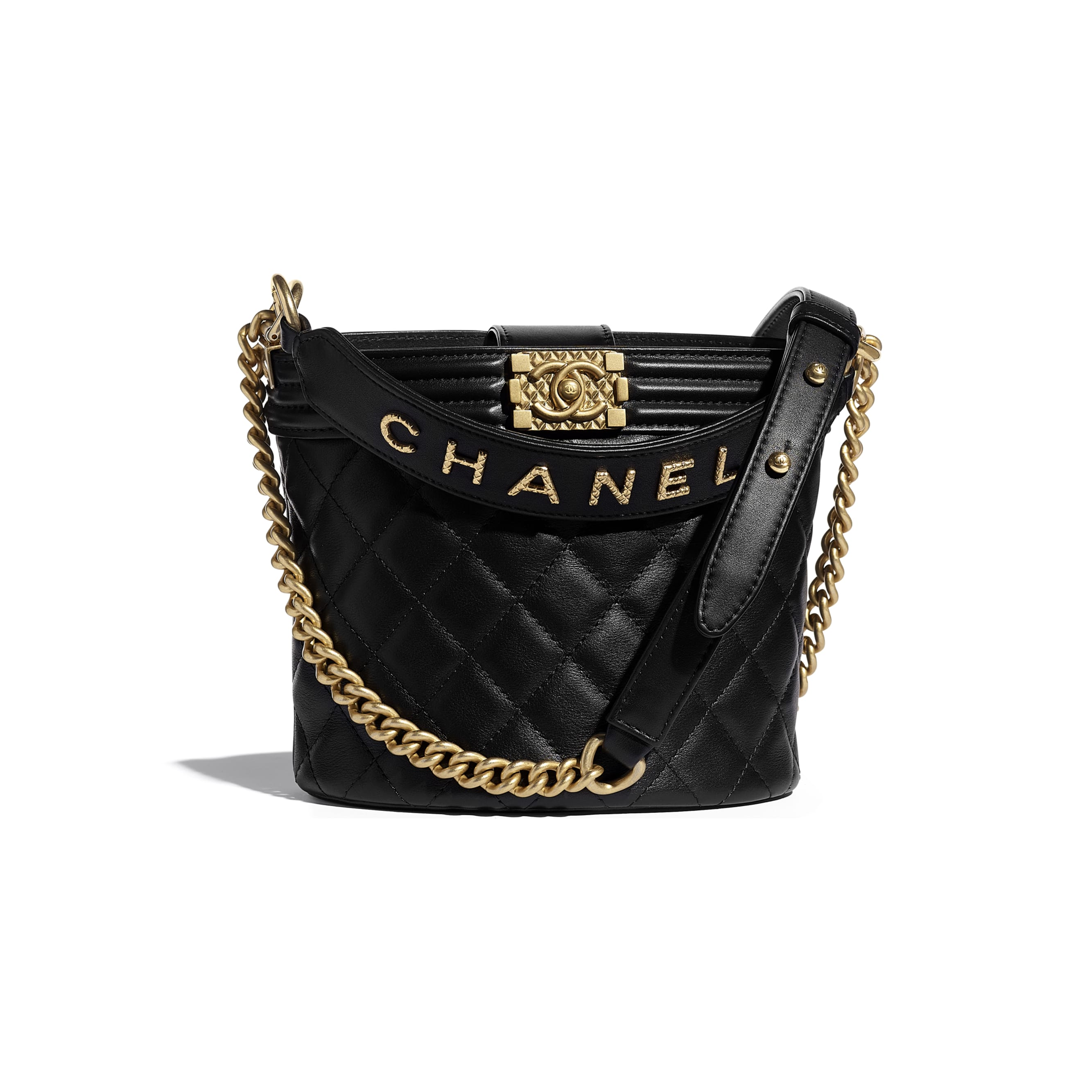 Small Bucket Bag - Black - Calfskin & Gold-Tone Metal - CHANEL - Default view - see standard sized version
