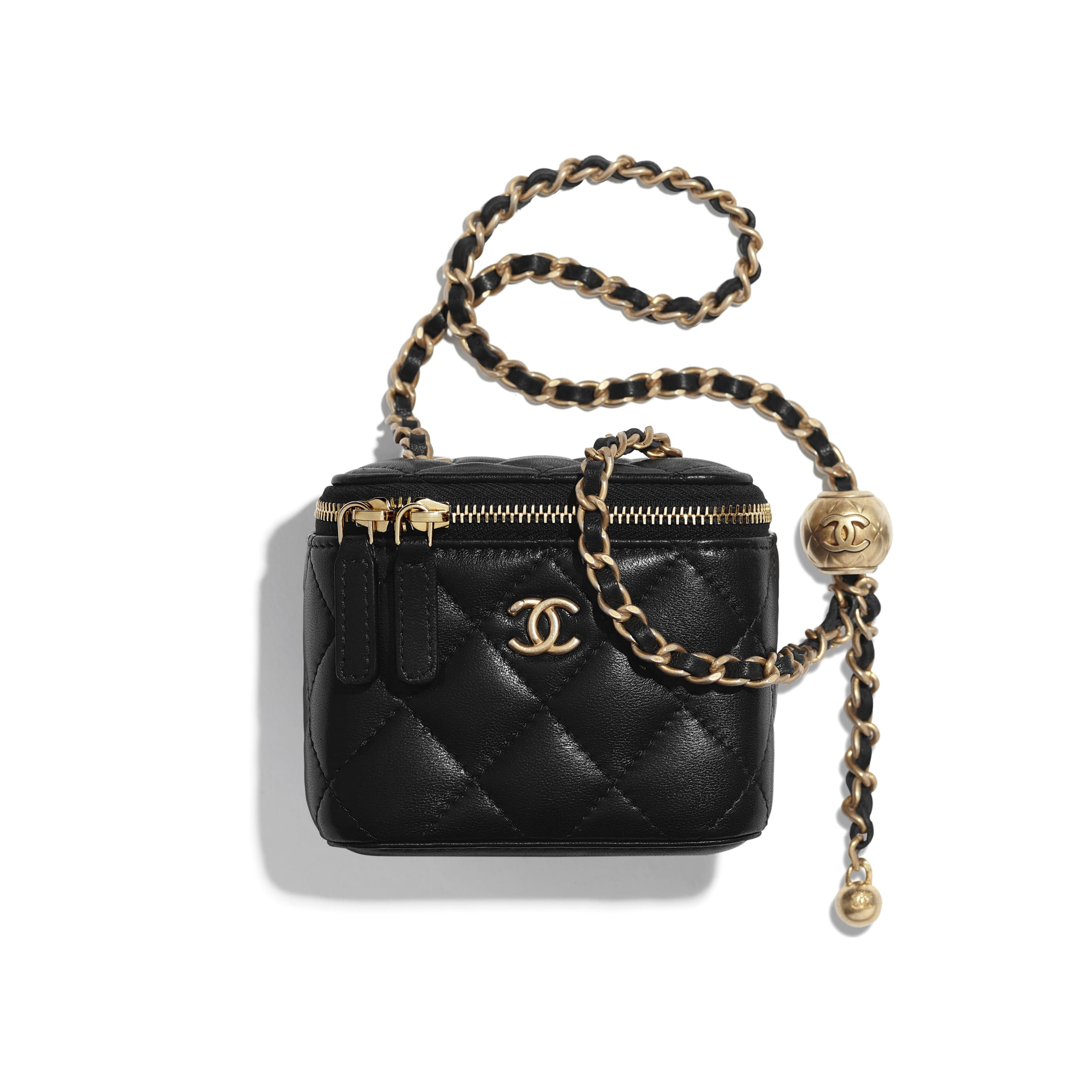 Small Classic Box with Chain - Black - Lambskin - CHANEL - Default view - see standard sized version