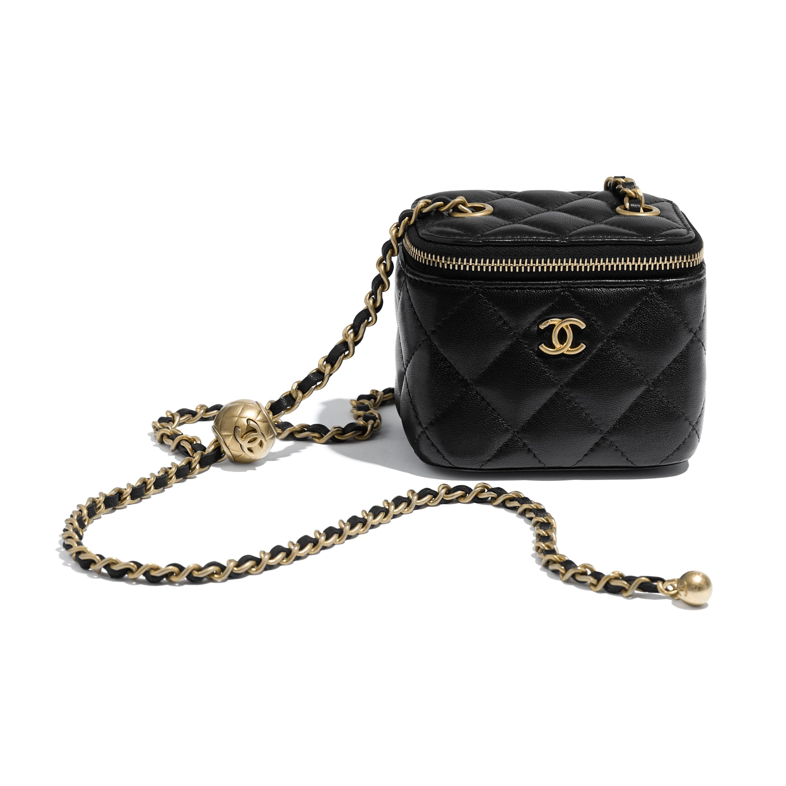 Small Classic Box with Chain - Black - Lambskin - CHANEL - Extra view - see standard sized version