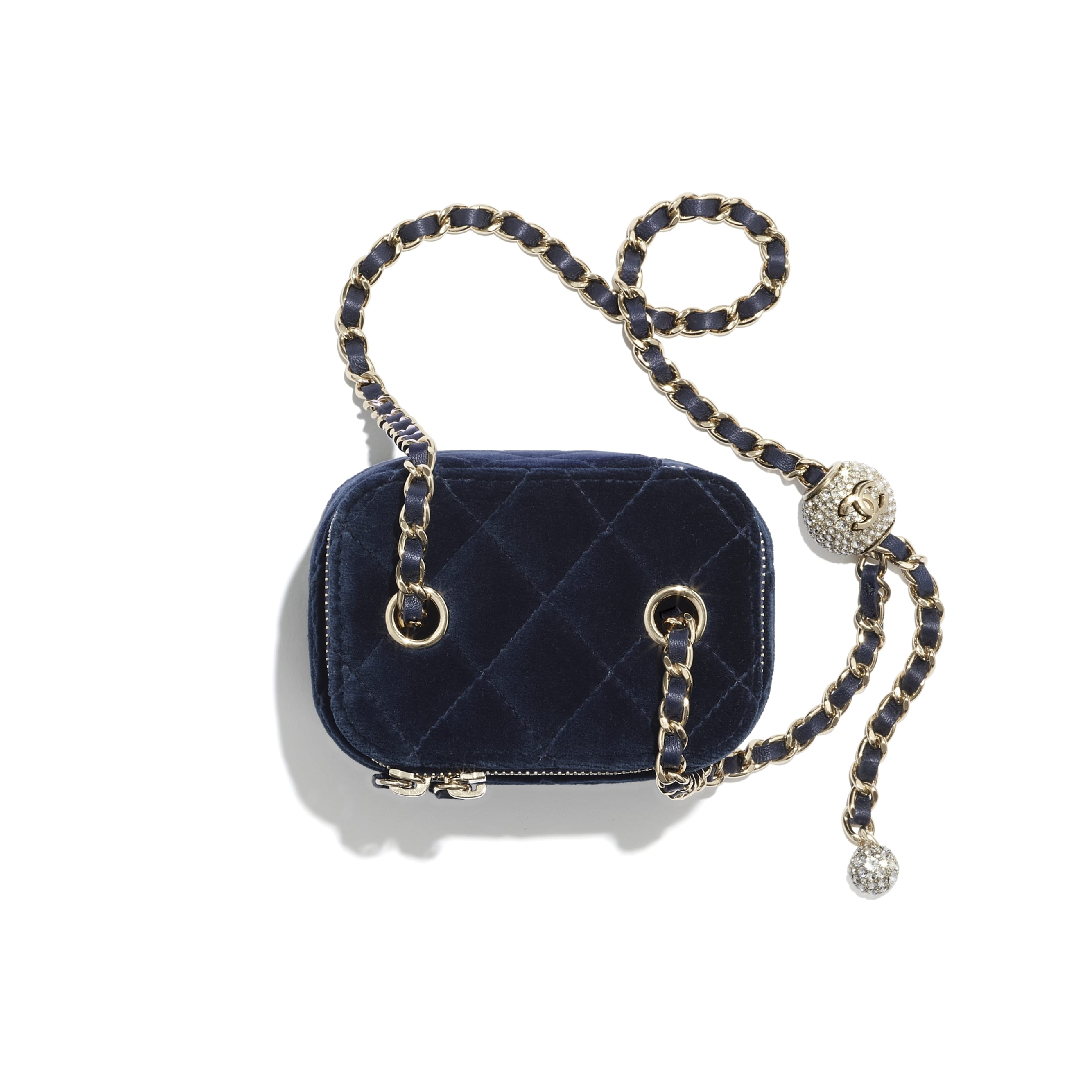 Small Classic Box with Chain - Navy Blue - Velvet, Diamanté & Gold-Tone Metal - CHANEL - Alternative view - see standard sized version