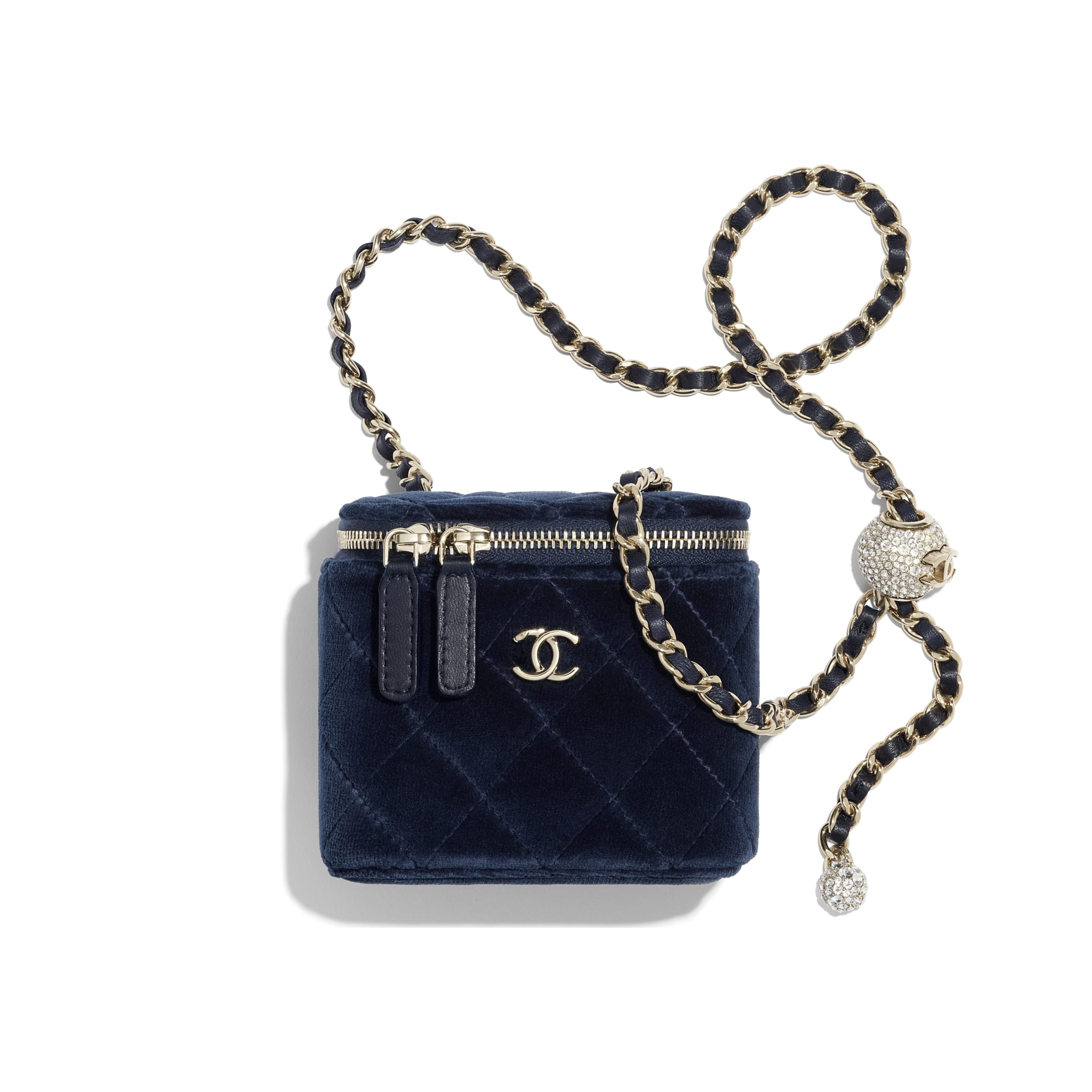 Small Classic Box with Chain - Navy Blue - Velvet, Diamanté & Gold-Tone Metal - CHANEL - Default view - see standard sized version
