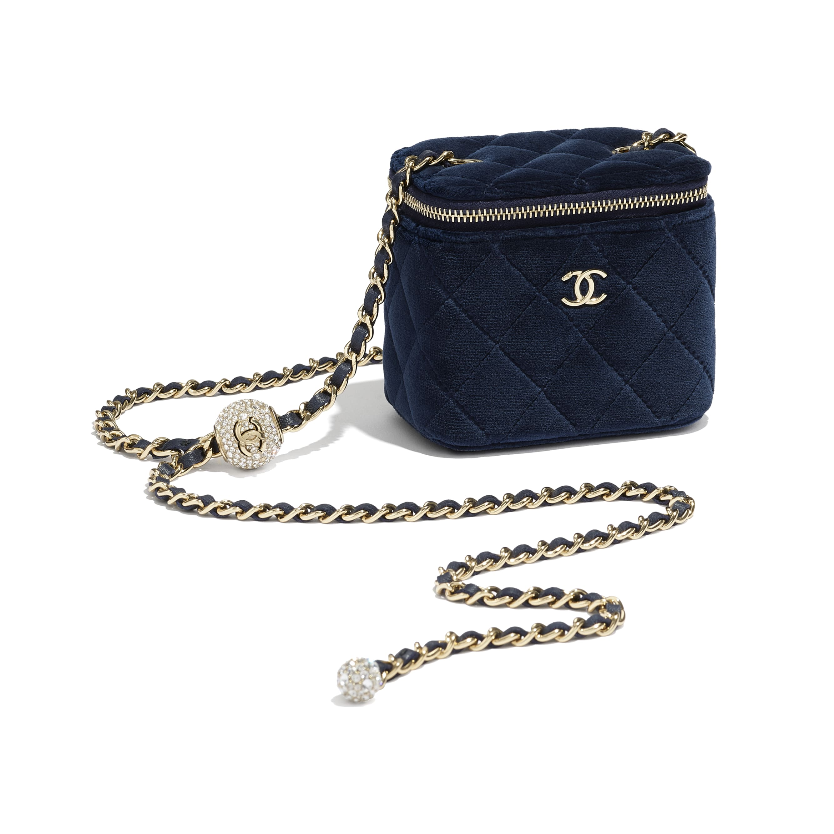 Small Classic Box with Chain - Navy Blue - Velvet, Diamanté & Gold-Tone Metal - CHANEL - Extra view - see standard sized version