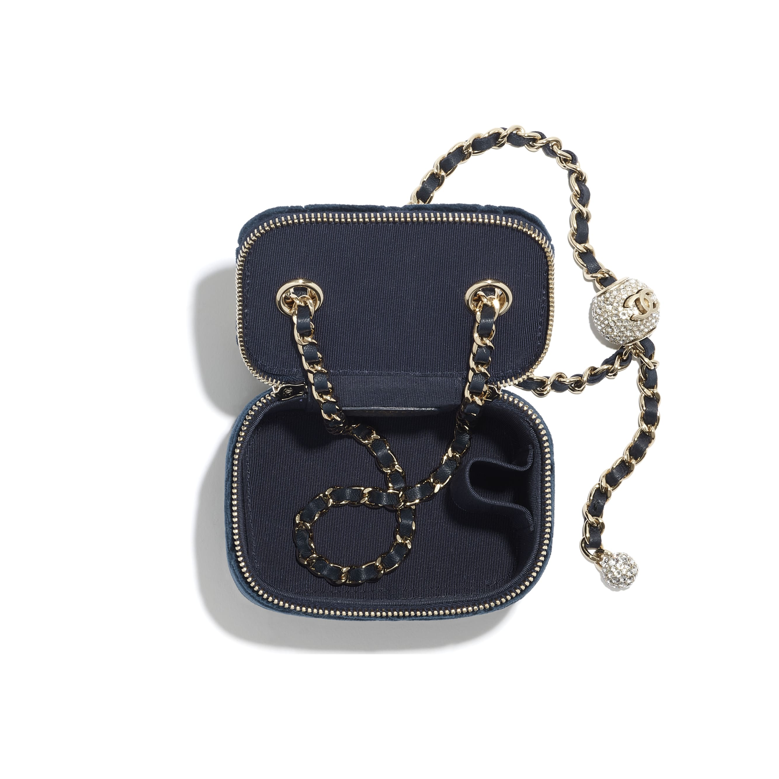 Small Classic Box with Chain - Navy Blue - Velvet, Diamanté & Silver-Tone Metal - CHANEL - Other view - see standard sized version