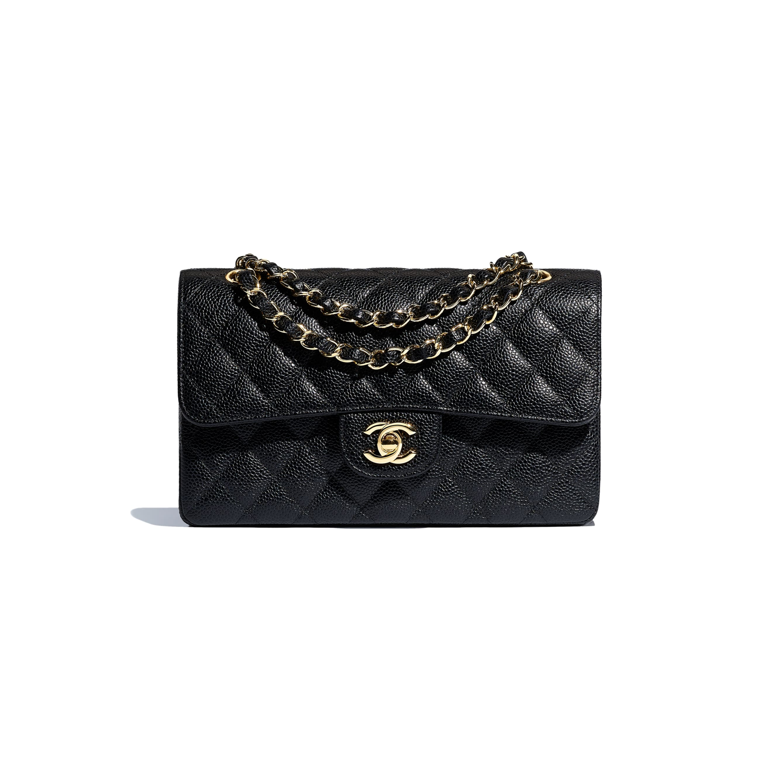 Small Classic Handbag - Black - Grained Calfskin & Gold-Tone Metal - CHANEL - Default view - see standard sized version