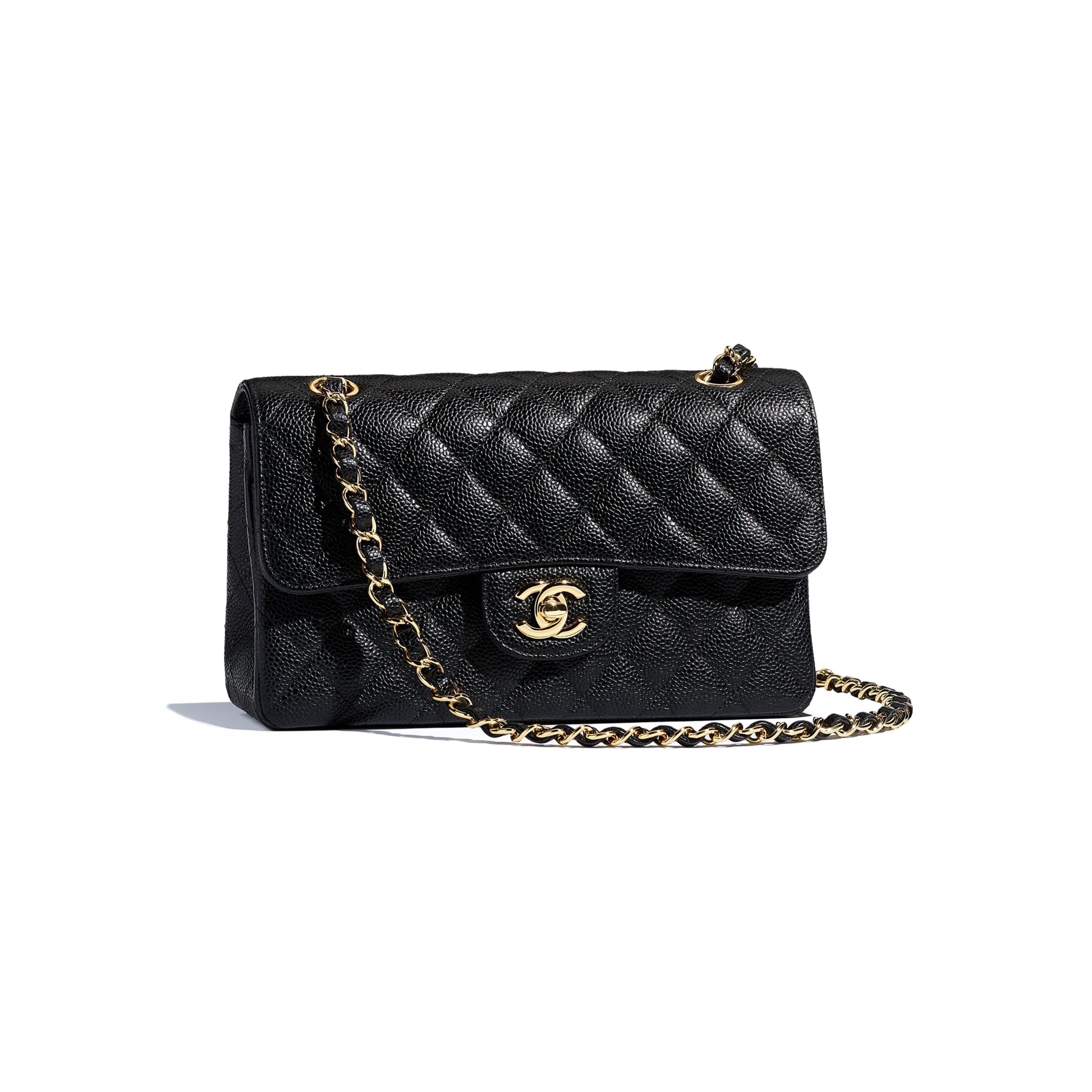 Small Classic Handbag - Black - Grained Calfskin & Gold-Tone Metal - CHANEL - Other view - see standard sized version
