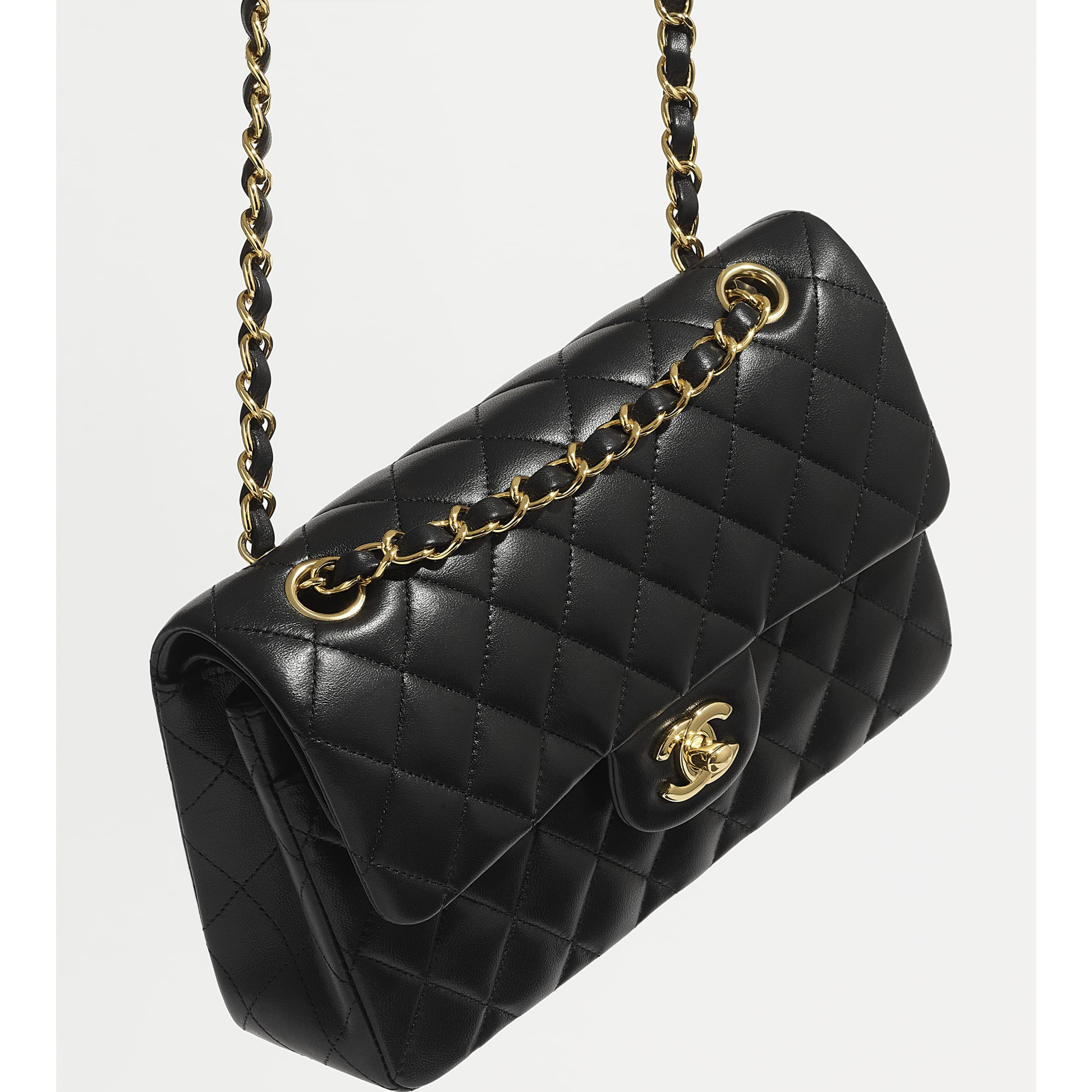 Small Classic Handbag - Black - Lambskin - CHANEL - Worn 3/4 view - see standard sized version