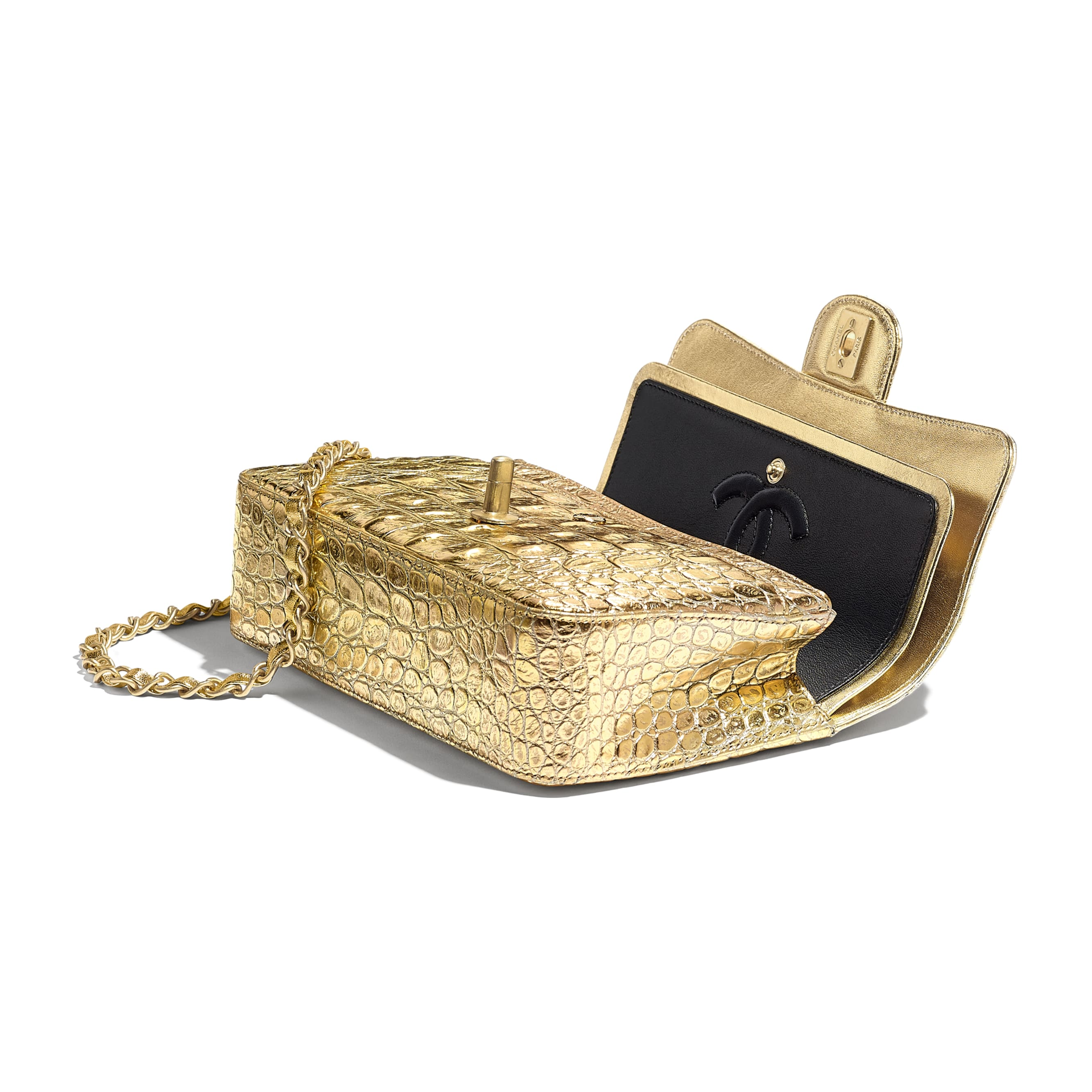 Small Classic Handbag - Gold - Metallic Crocodile Embossed Calfskin & Gold Metal - Other view - see standard sized version