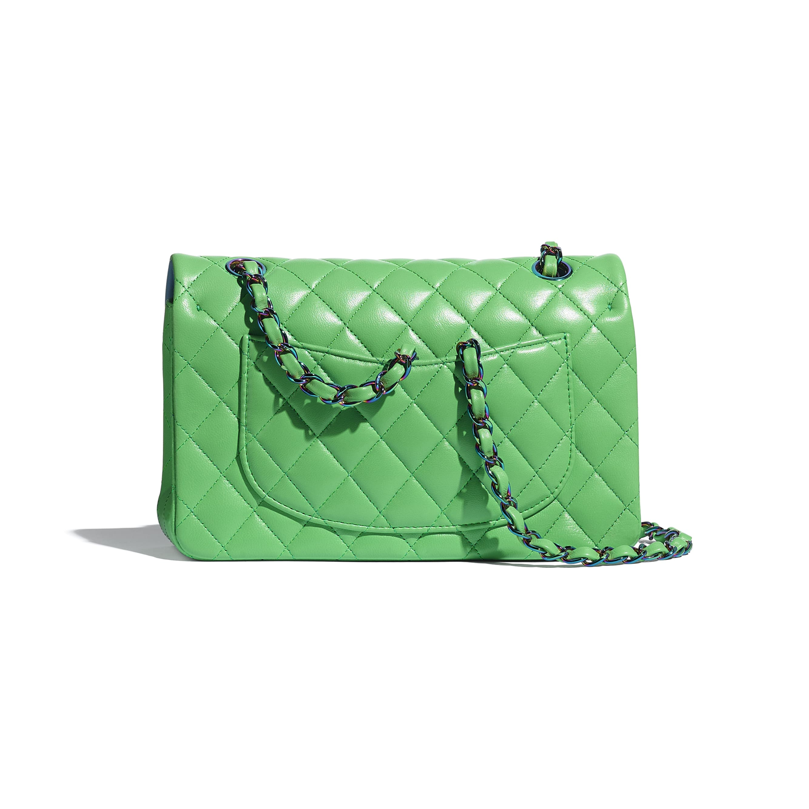 Small Classic Handbag - Green - Lambskin & Rainbow Metal - CHANEL - Alternative view - see standard sized version