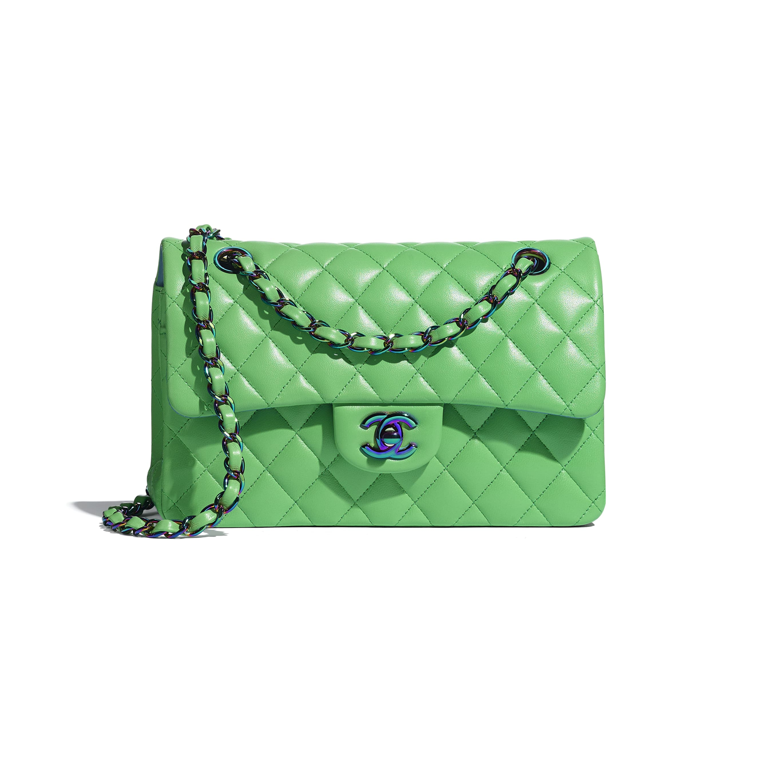 Small Classic Handbag - Green - Lambskin & Rainbow Metal - CHANEL - Default view - see standard sized version