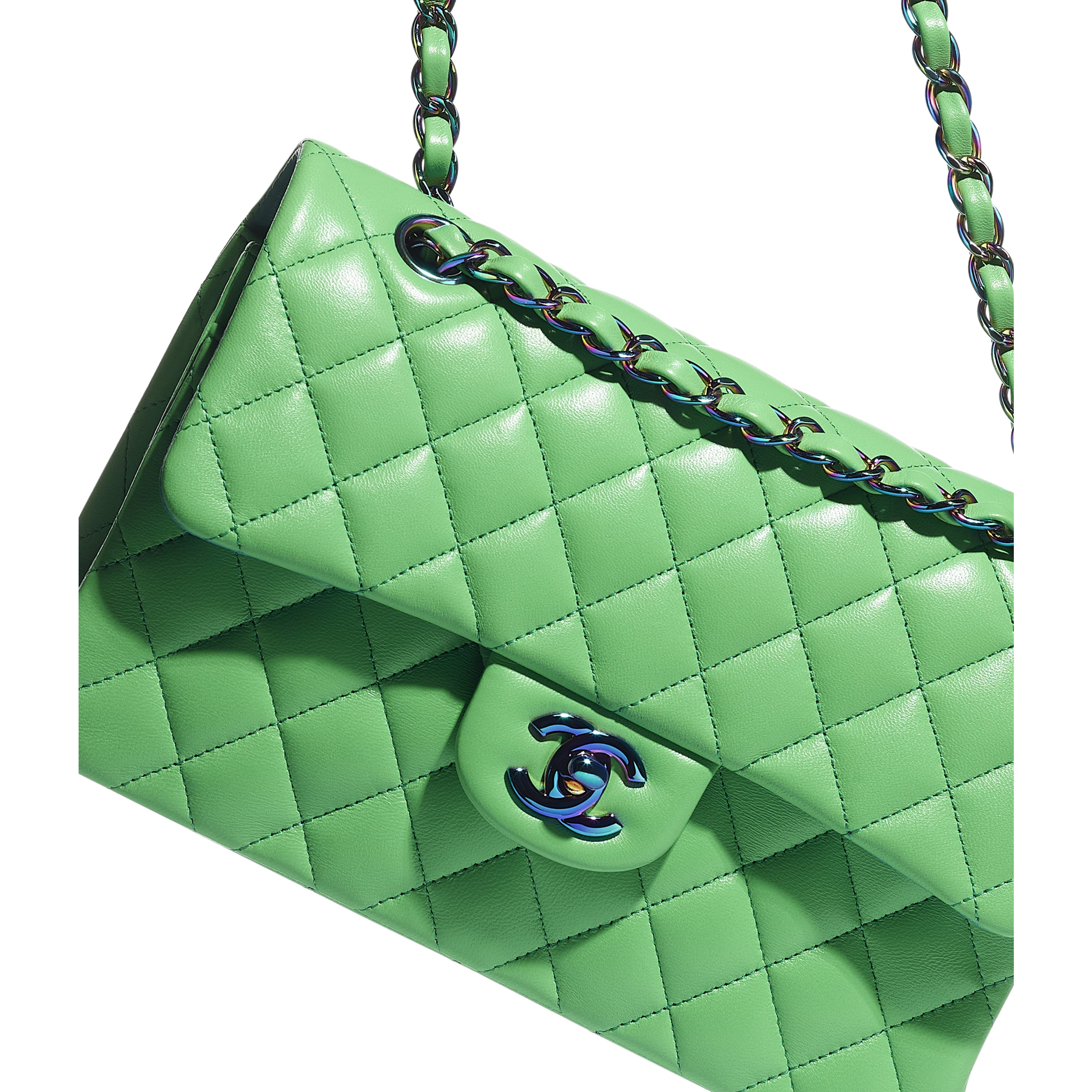 Small Classic Handbag - Green - Lambskin & Rainbow Metal - CHANEL - Extra view - see standard sized version