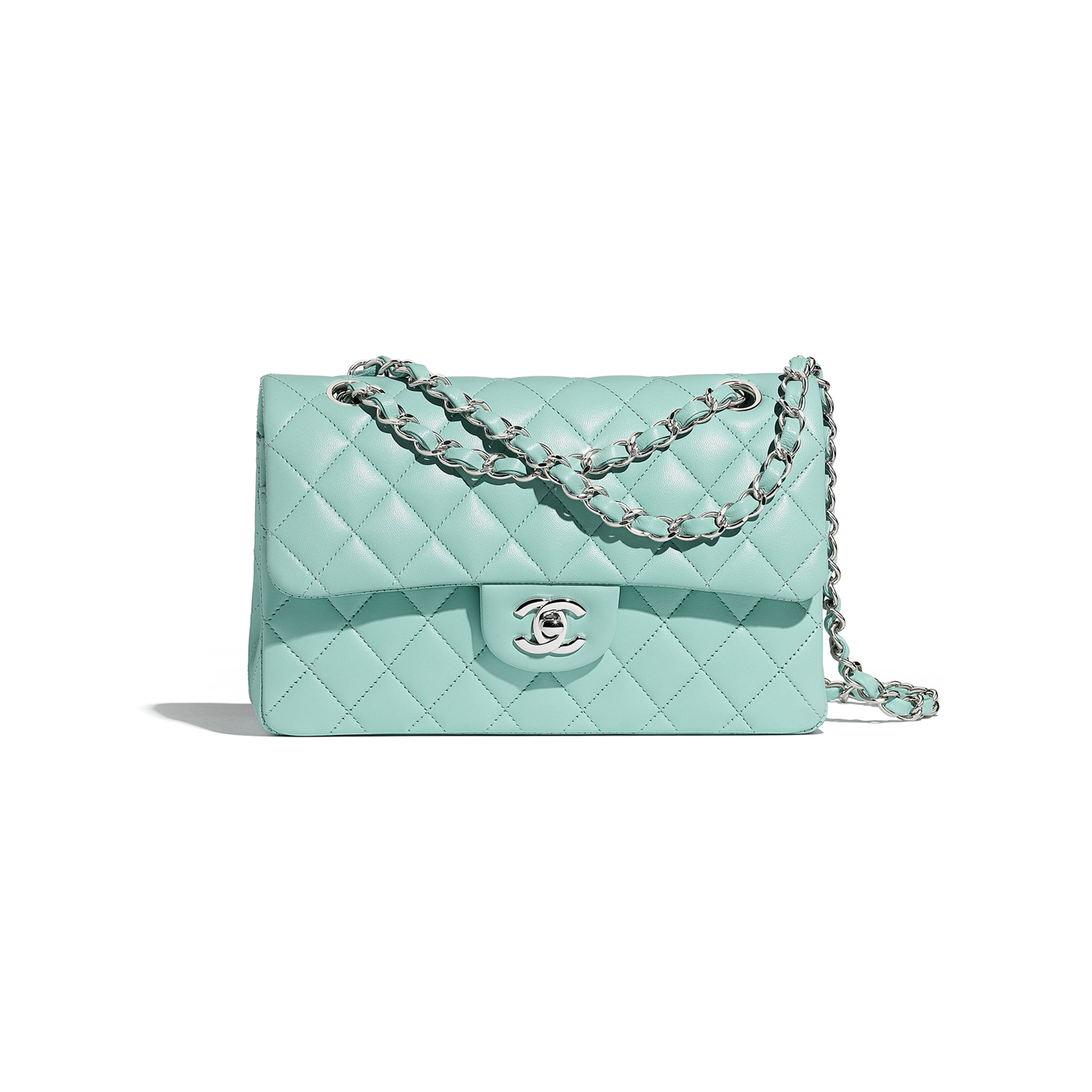 Small Classic Handbag - Light Blue - Lambskin & Silver-Tone Metal - Default view - see standard sized version