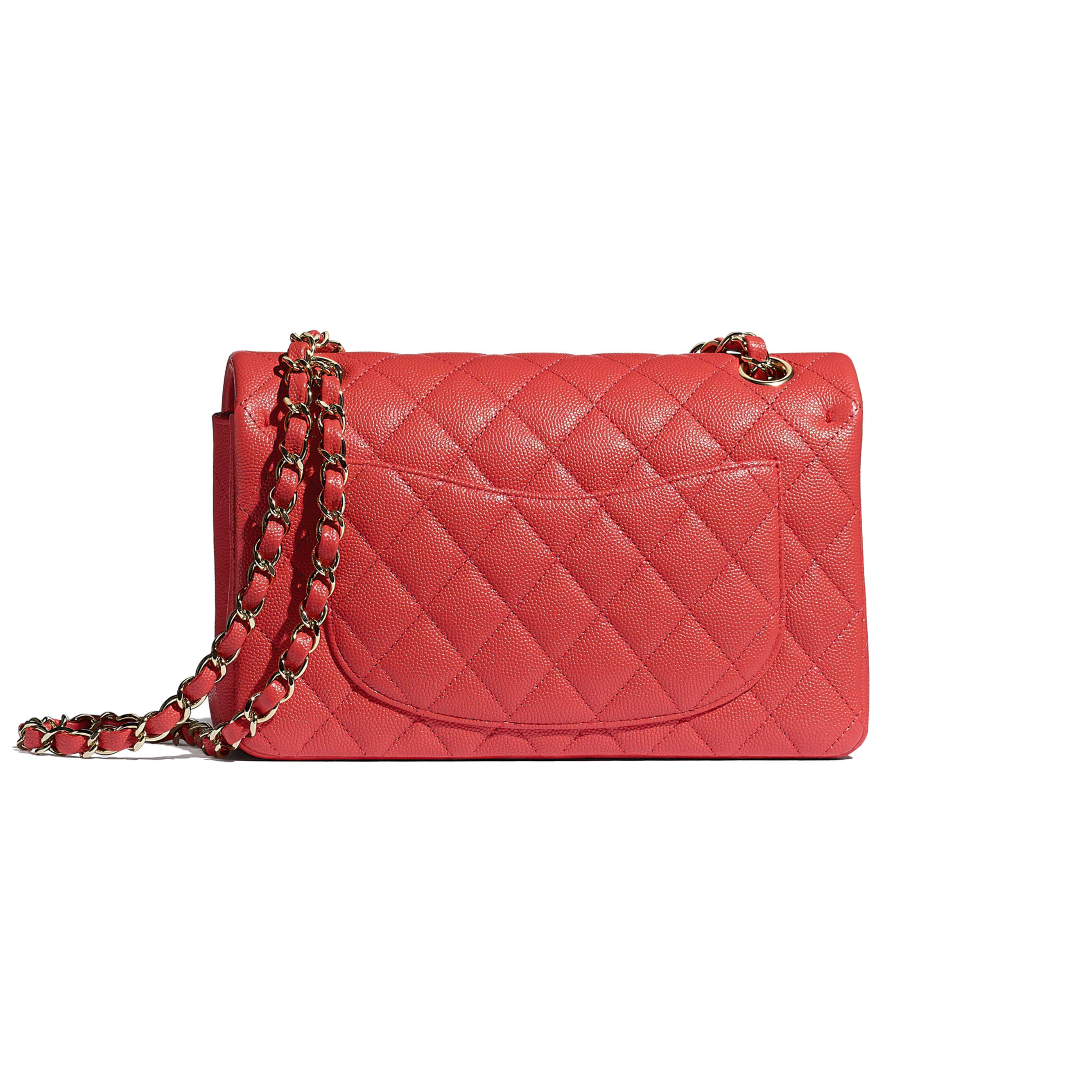 Small Classic Handbag - Red - Grained Calfskin & Gold-Tone Metal - CHANEL - Alternative view - see standard sized version
