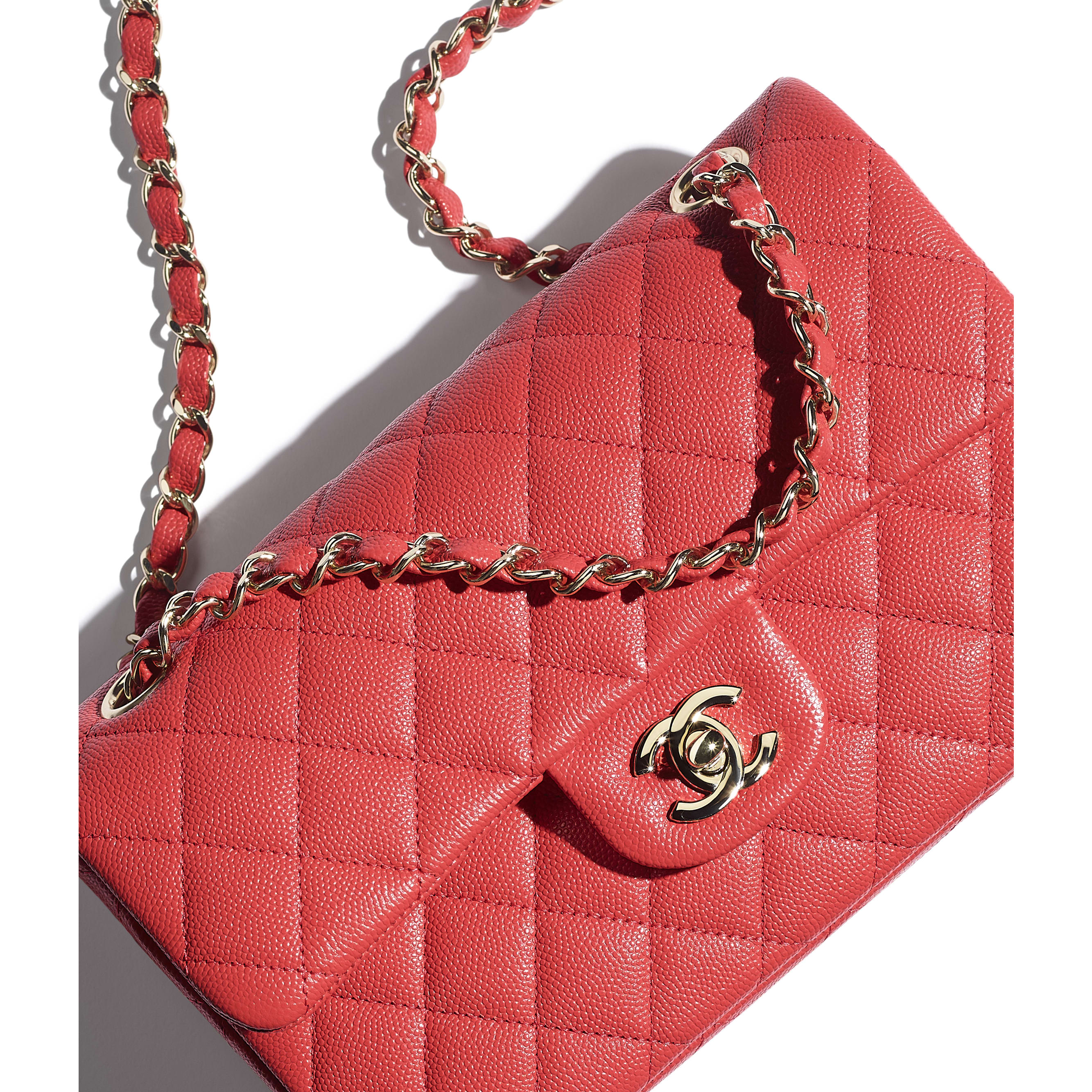 Small Classic Handbag - Red - Grained Calfskin & Gold-Tone Metal - CHANEL - Extra view - see standard sized version