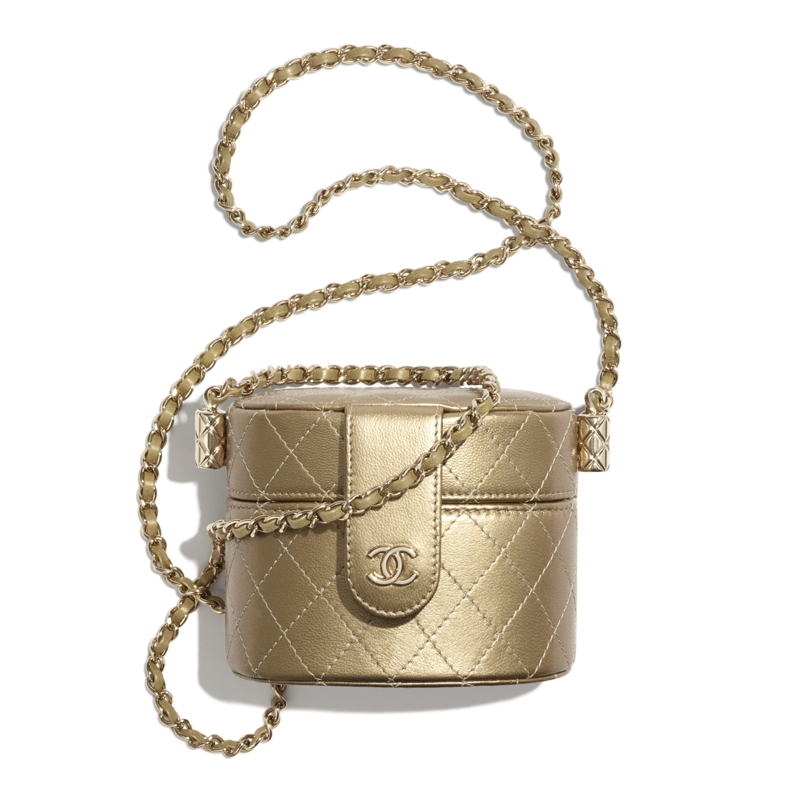 Small Clutch with Chain - Gold - Metallic Lambskin & Gold Metal - CHANEL - Default view - see standard sized version