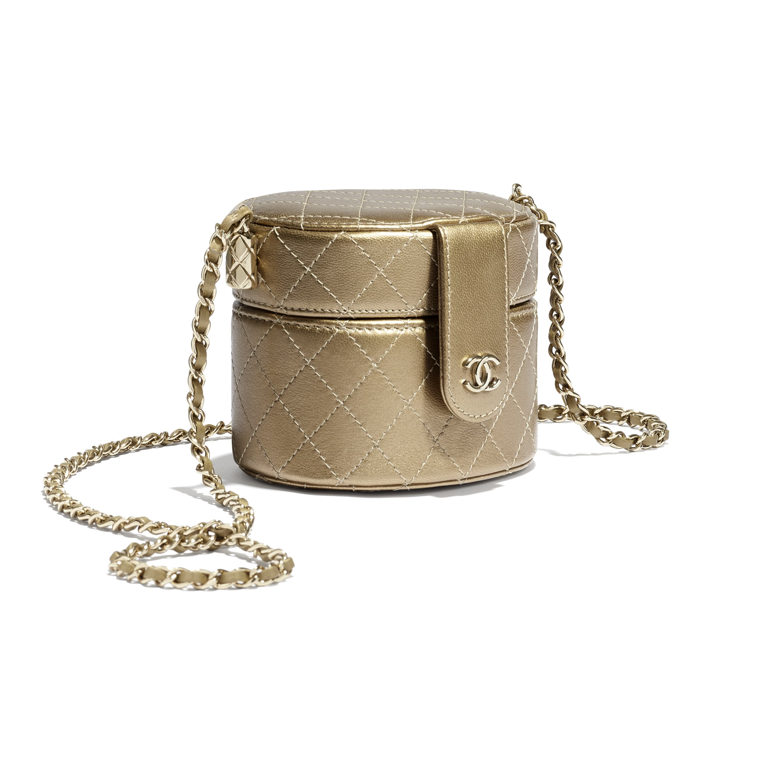 Small Clutch with Chain - Gold - Metallic Lambskin & Gold Metal - CHANEL - Extra view - see standard sized version