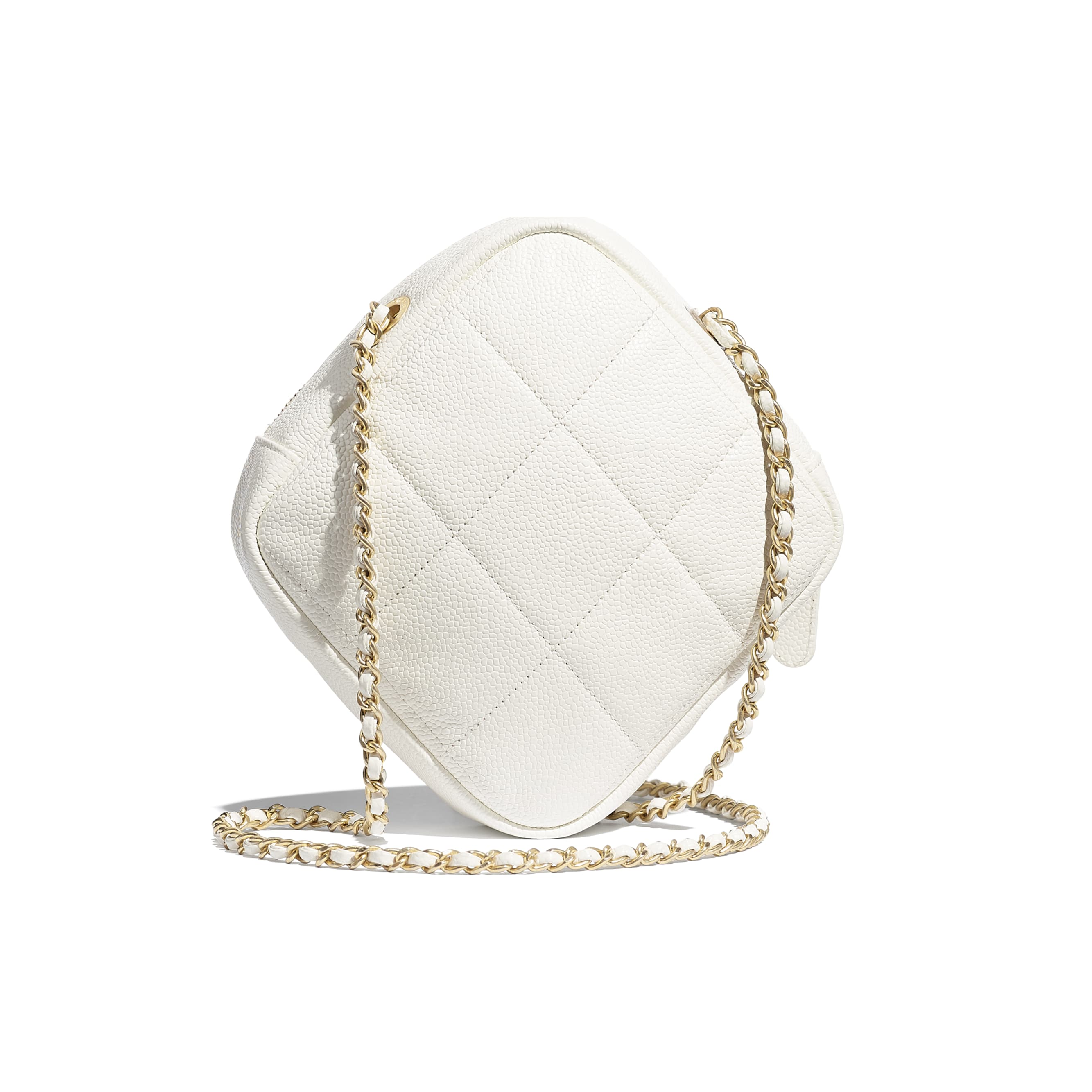 Small Diamond Bag - White - Grained Calfskin & Gold-Tone Metal - CHANEL - Alternative view - see standard sized version