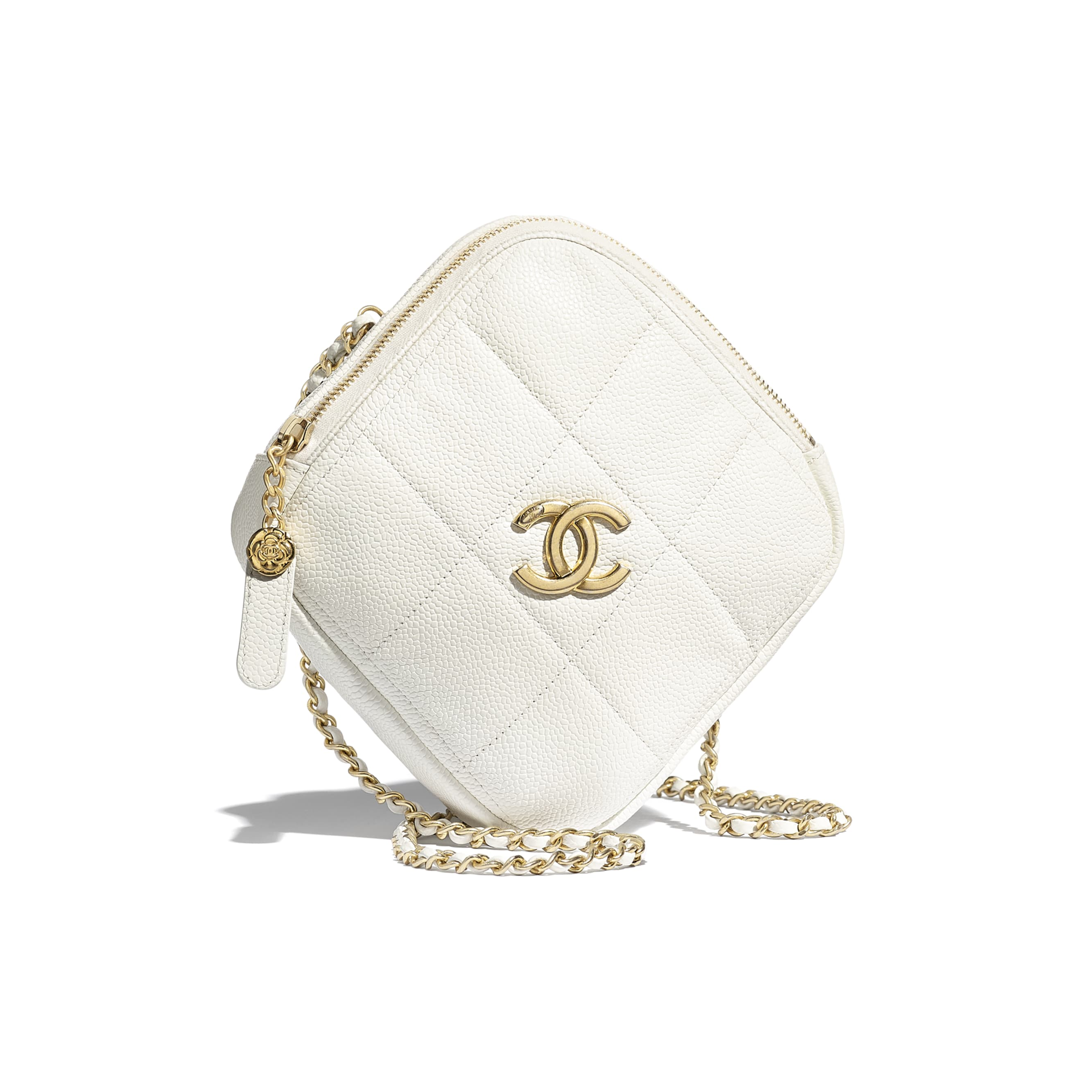 Small Diamond Bag - White - Grained Calfskin & Gold-Tone Metal - CHANEL - Default view - see standard sized version