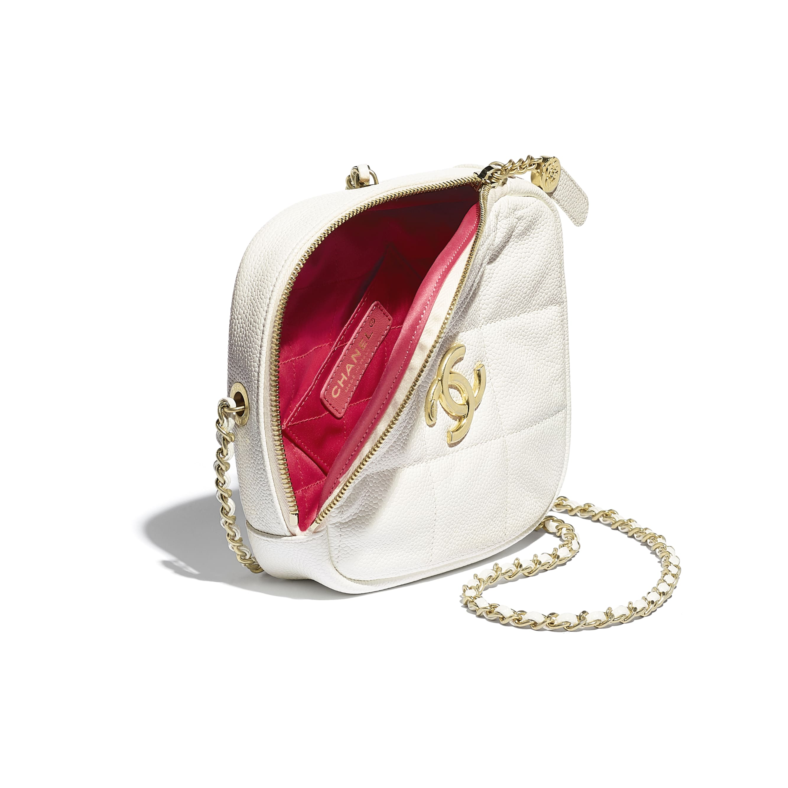 Small Diamond Bag - White - Grained Calfskin & Gold-Tone Metal - CHANEL - Other view - see standard sized version