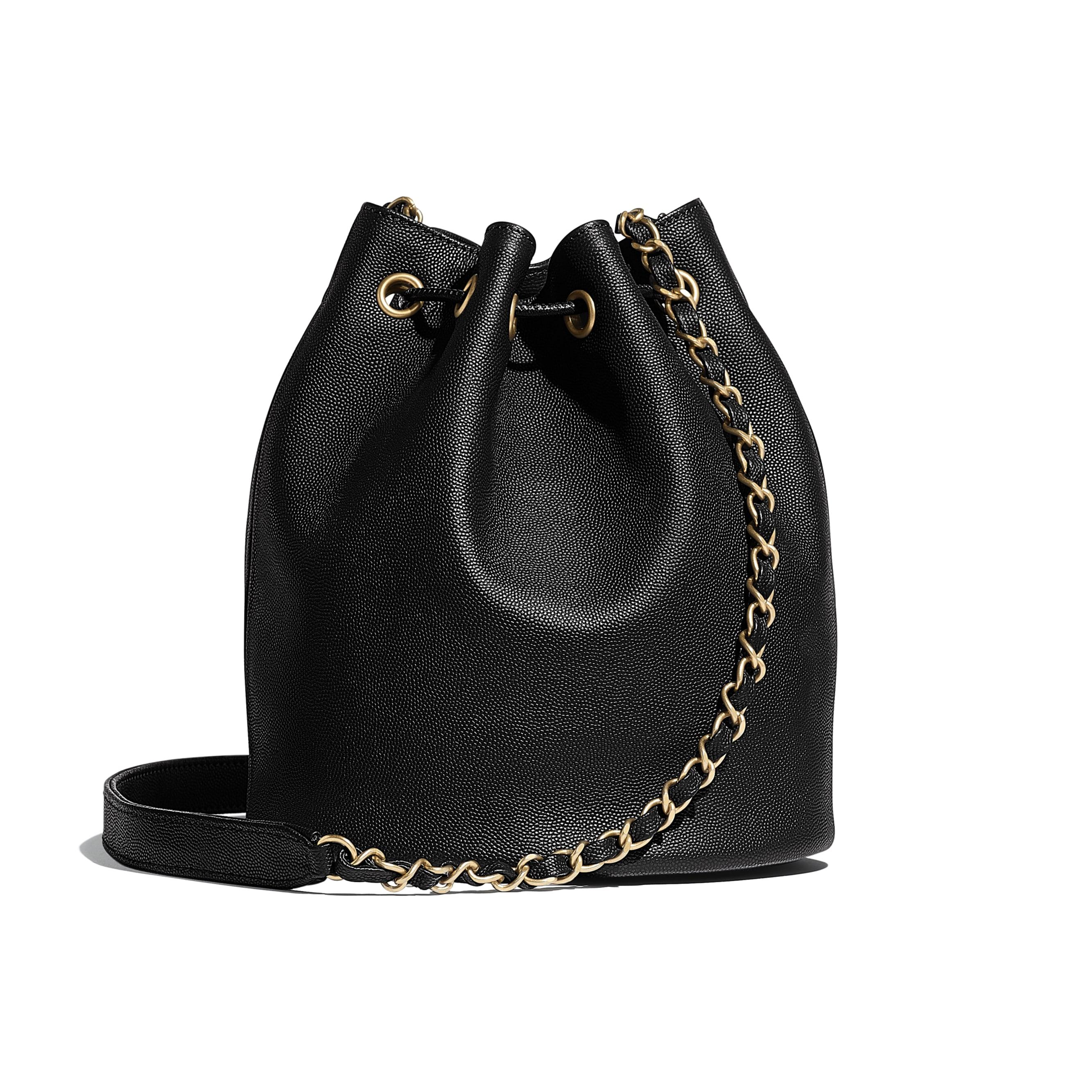 Сумка на шнурке маленького размера - Черный - Зернистая кожа теленка и золотистый металл - Альтернативный вид - посмотреть изображение стандартного размера