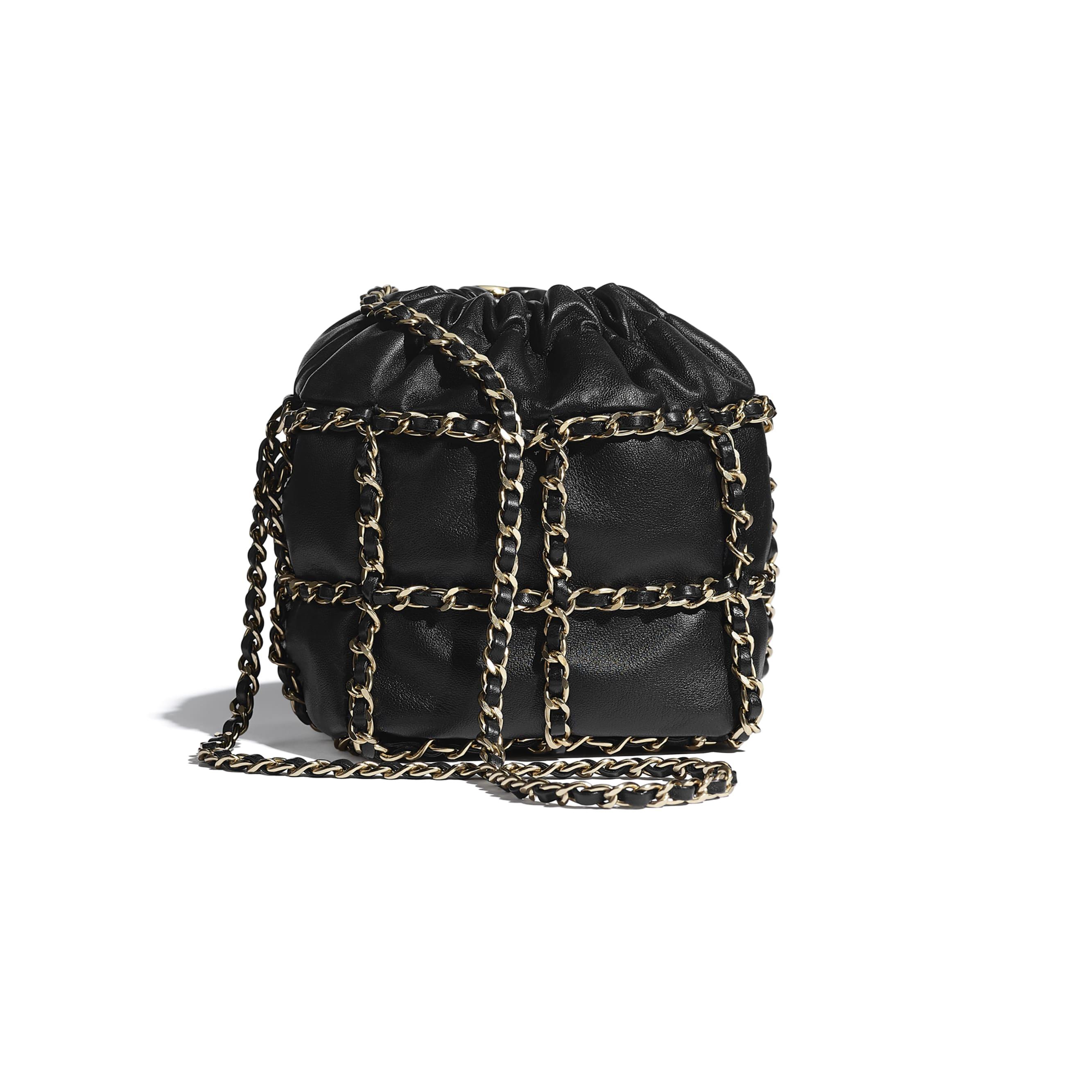 Small Drawstring Bag - Black - Lambskin & Gold Metal  - CHANEL - Alternative view - see standard sized version