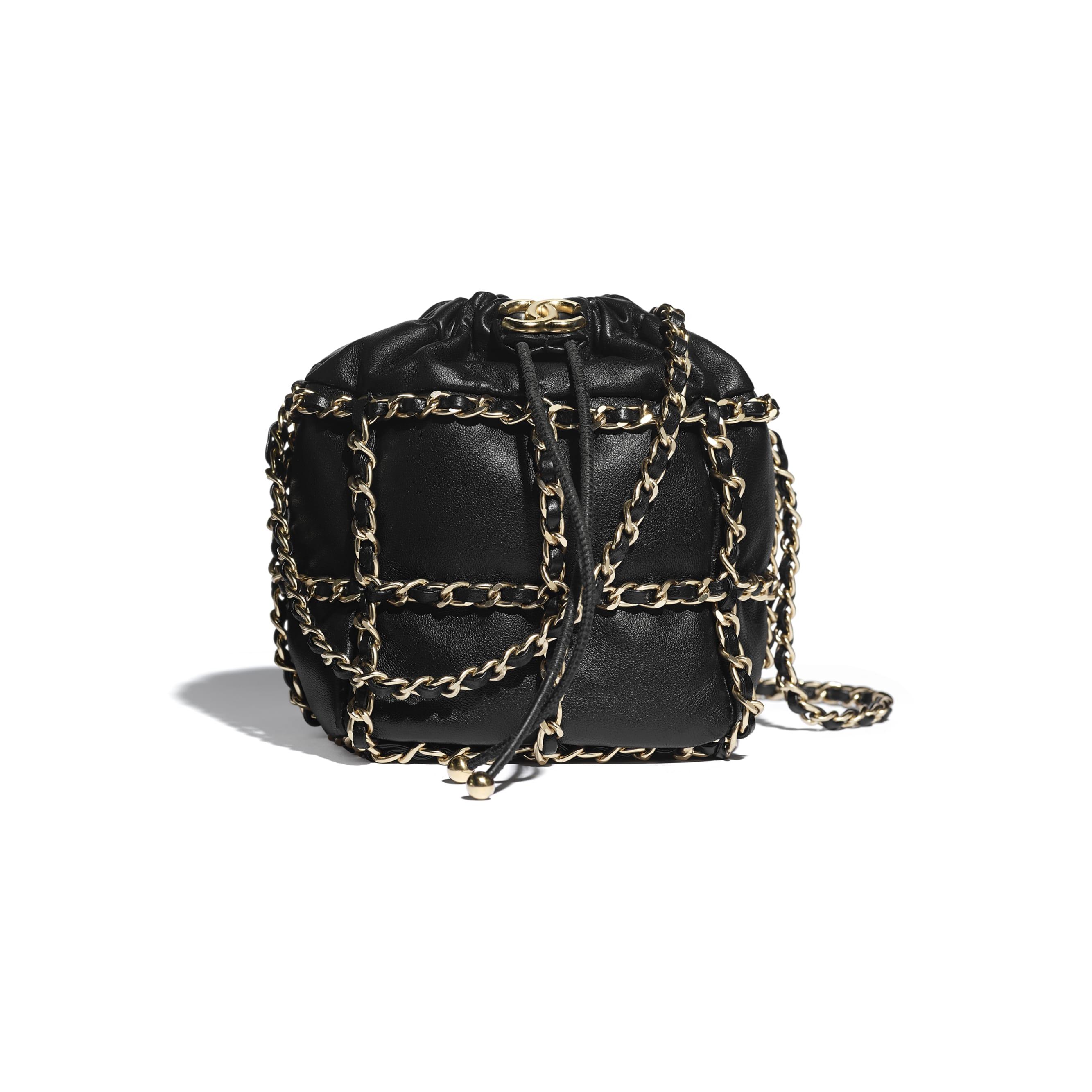 Petit sac à fermeture cordon - Noir - Agneau & métal doré - CHANEL - Vue par défaut - voir la version taille standard