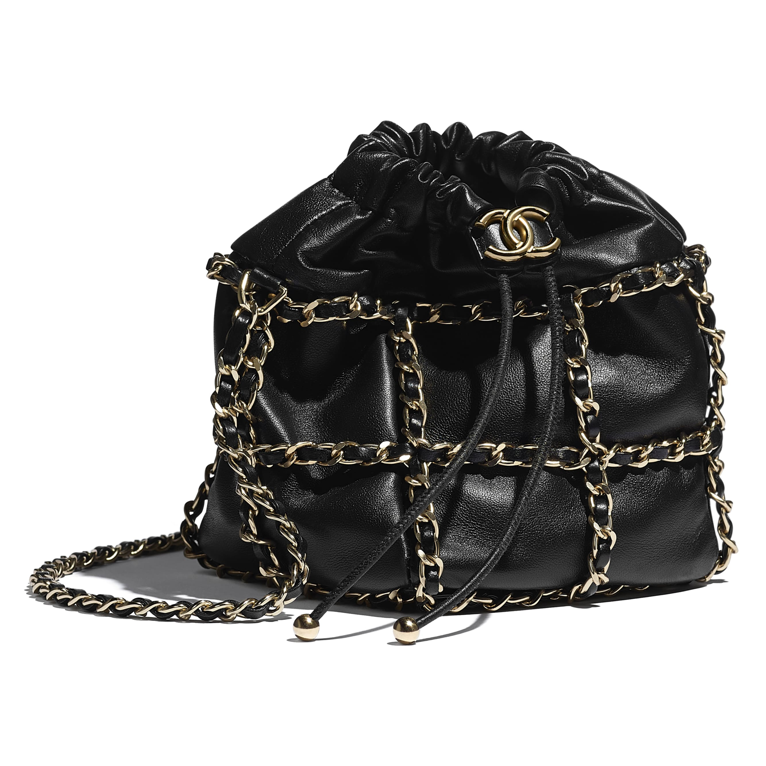 Small Drawstring Bag - Black - Lambskin & Gold Metal  - CHANEL - Extra view - see standard sized version