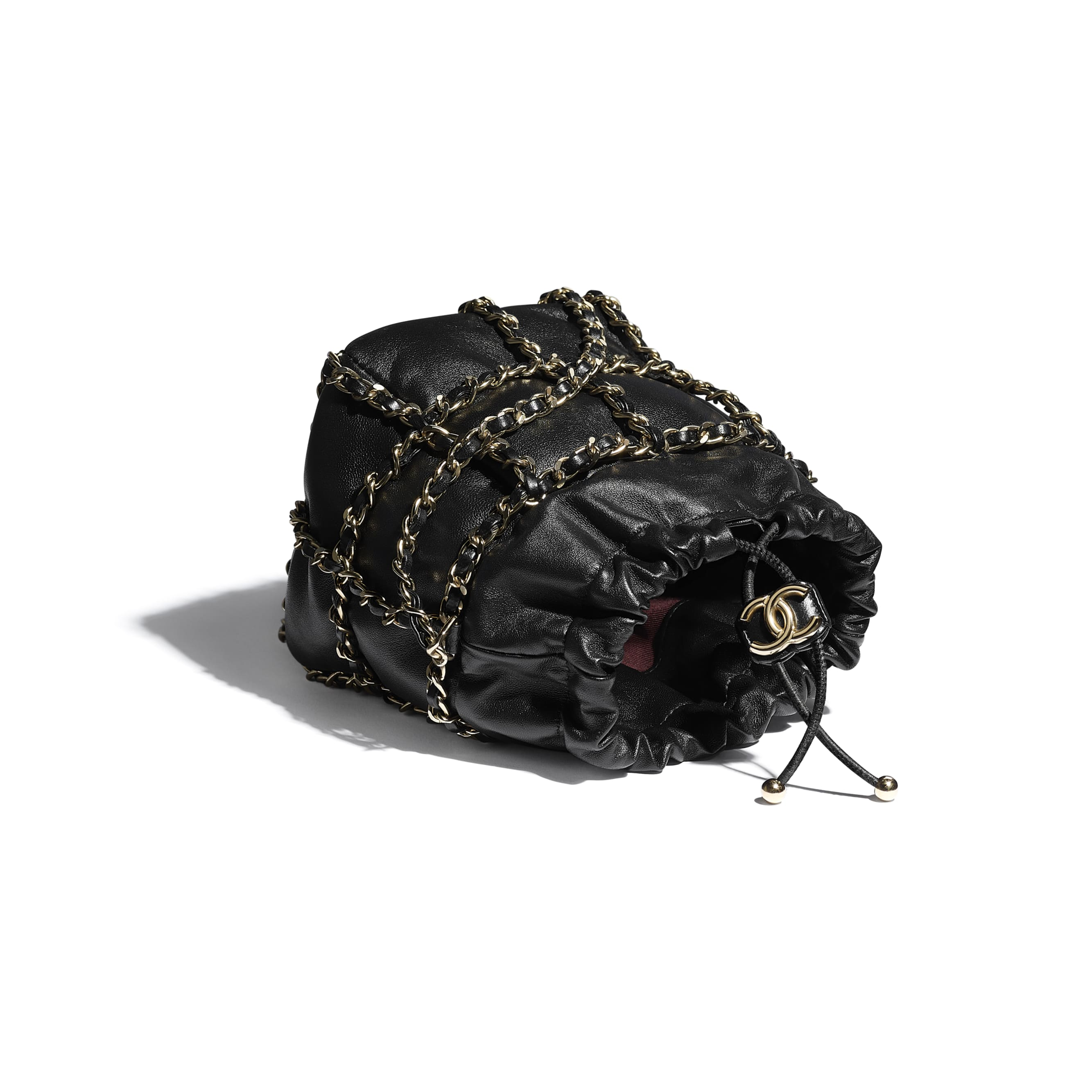 Small Drawstring Bag - Black - Lambskin & Gold Metal  - CHANEL - Other view - see standard sized version