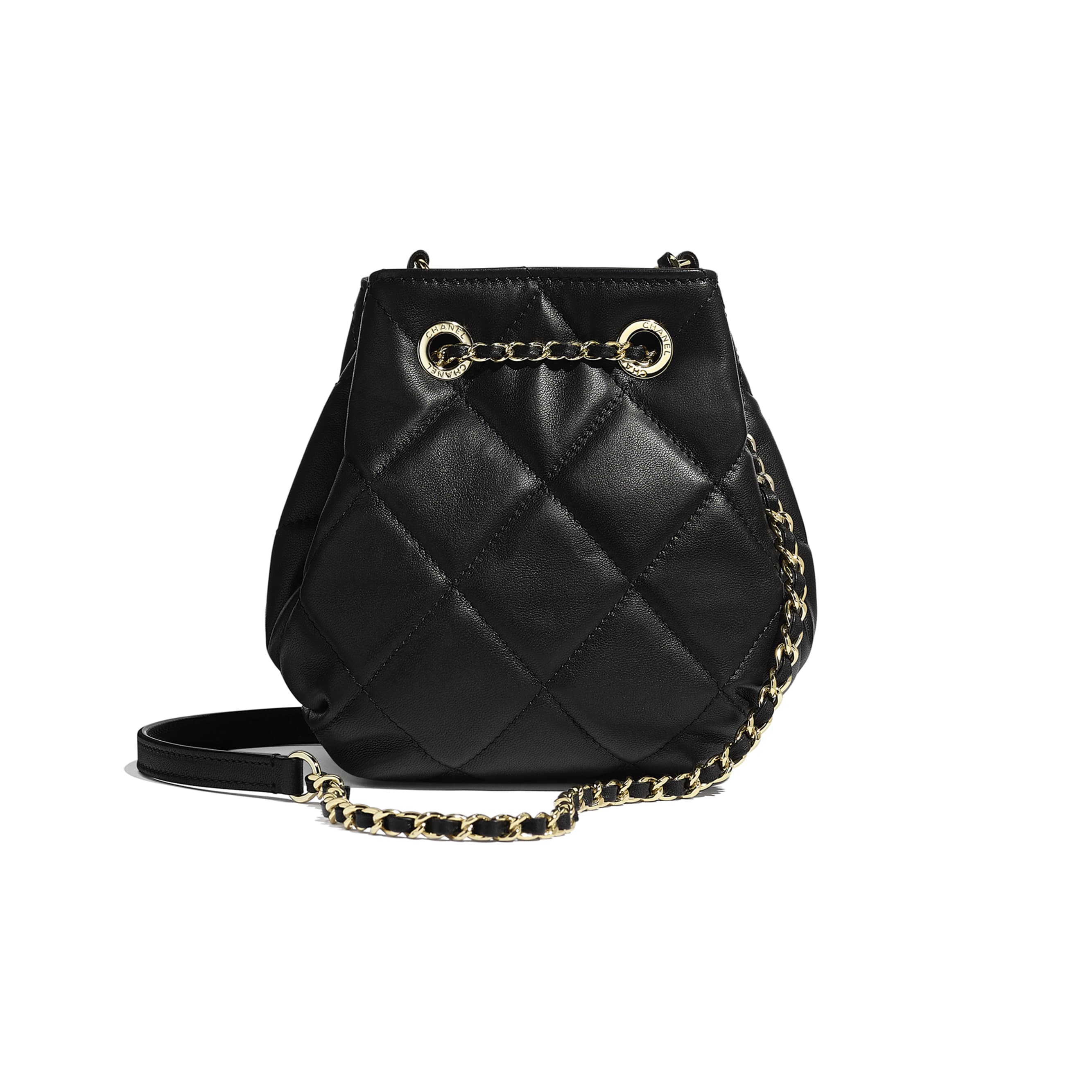 Small Drawstring Bag - Black - Lambskin - CHANEL - Alternative view - see standard sized version