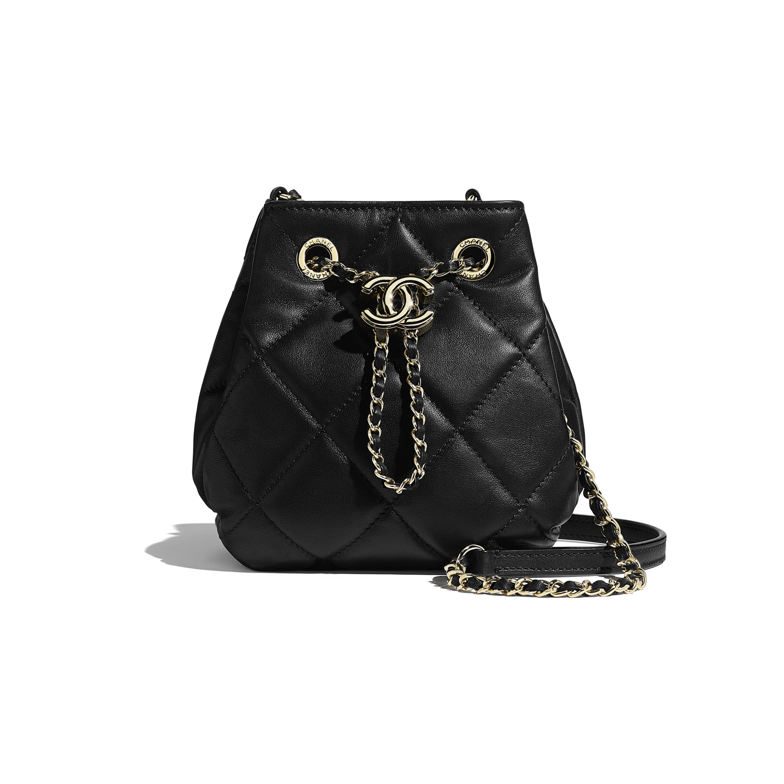 Small Drawstring Bag - Black - Lambskin - CHANEL - Default view - see standard sized version