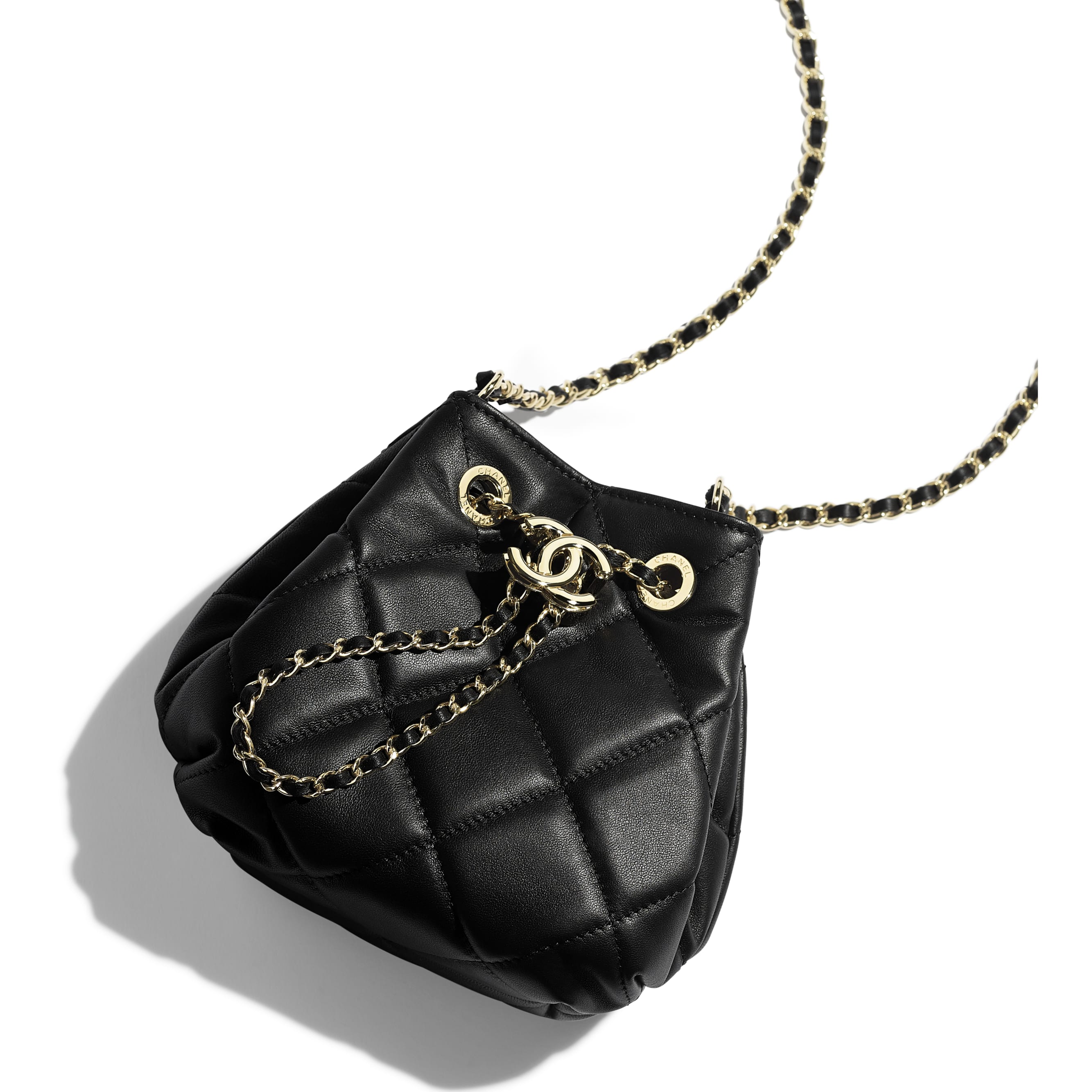 Small Drawstring Bag - Black - Lambskin - CHANEL - Extra view - see standard sized version