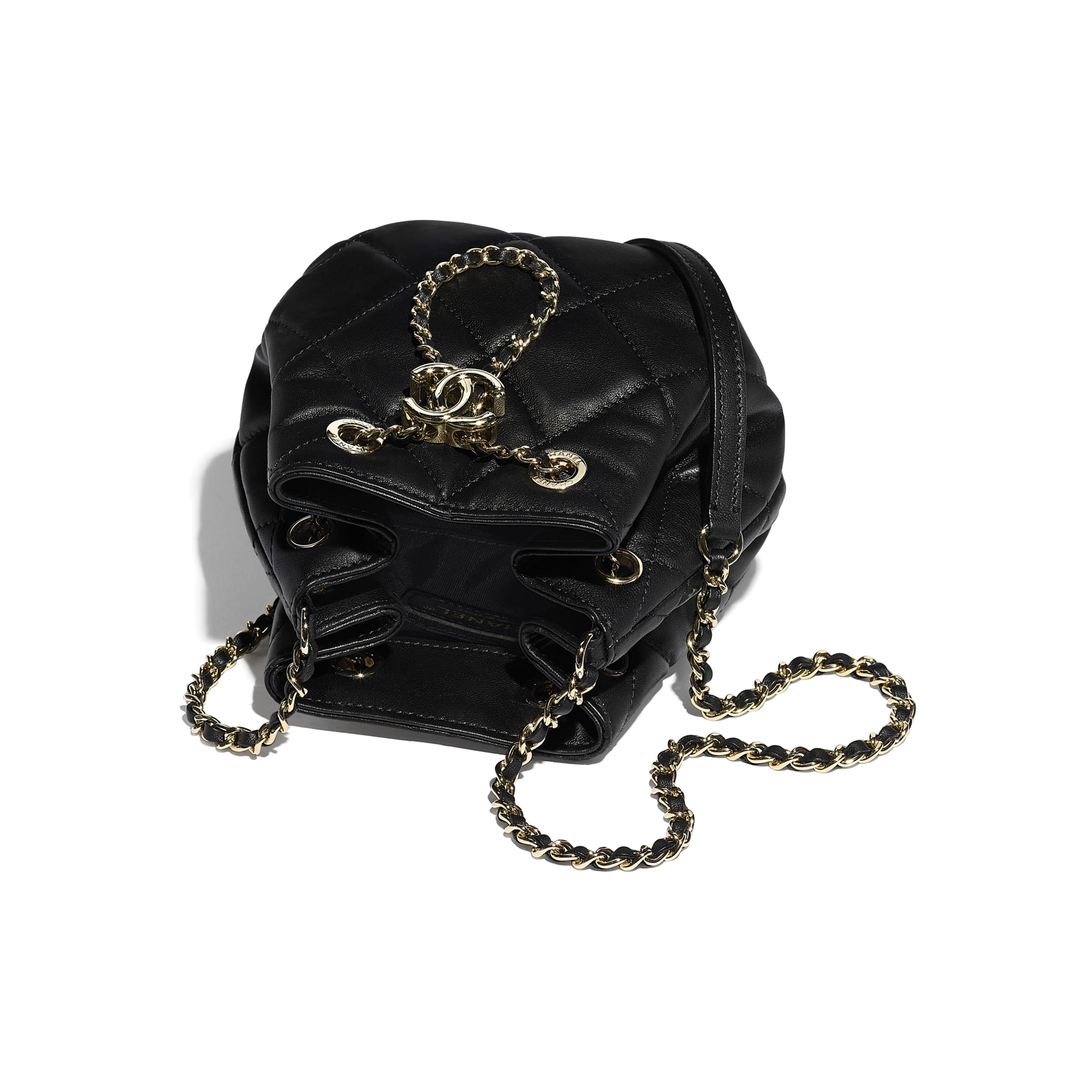 Small Drawstring Bag - Black - Lambskin - CHANEL - Other view - see standard sized version