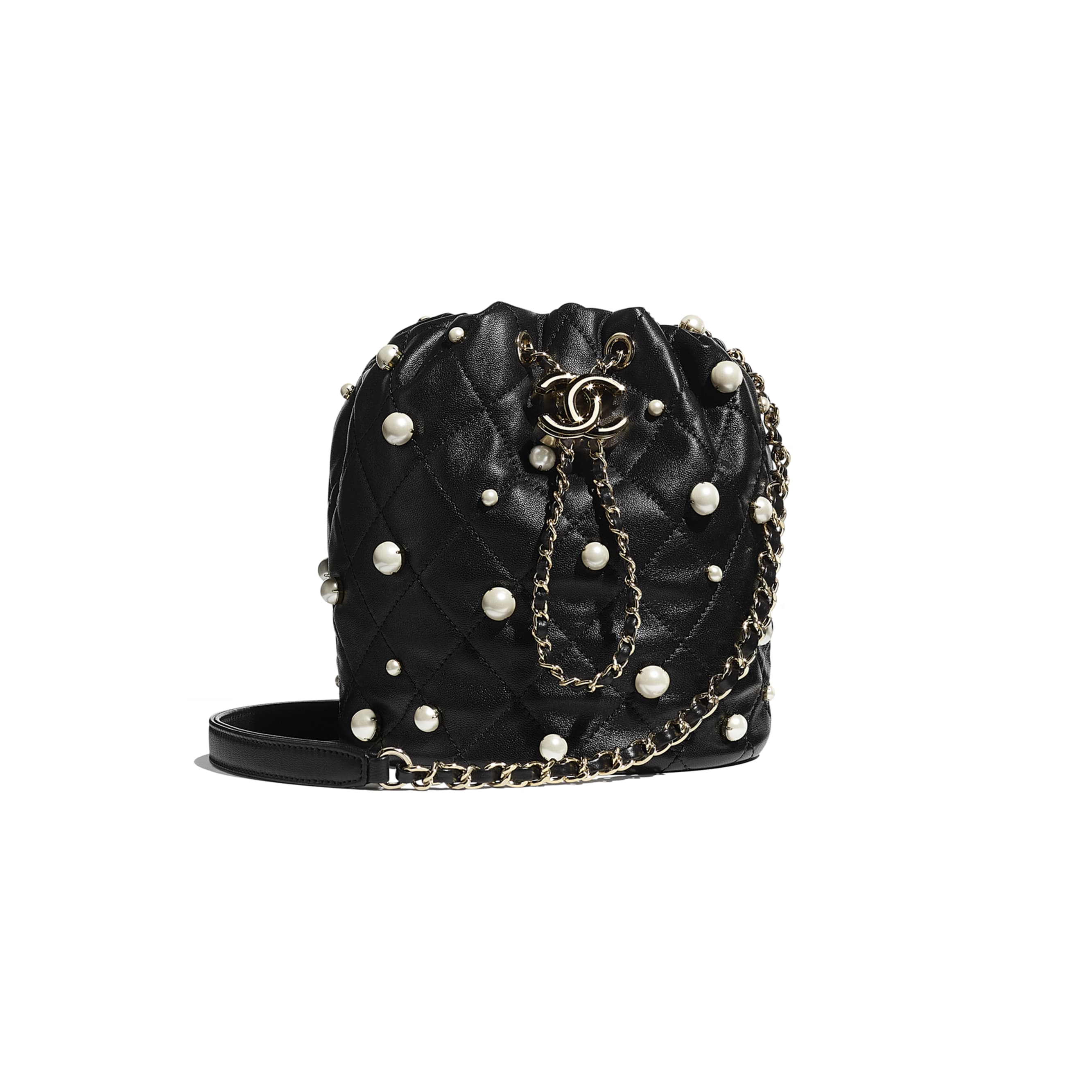 Small Drawstring Bag - Black - Lambskin, Imitation Pearls & Gold Metal - CHANEL - Default view - see standard sized version