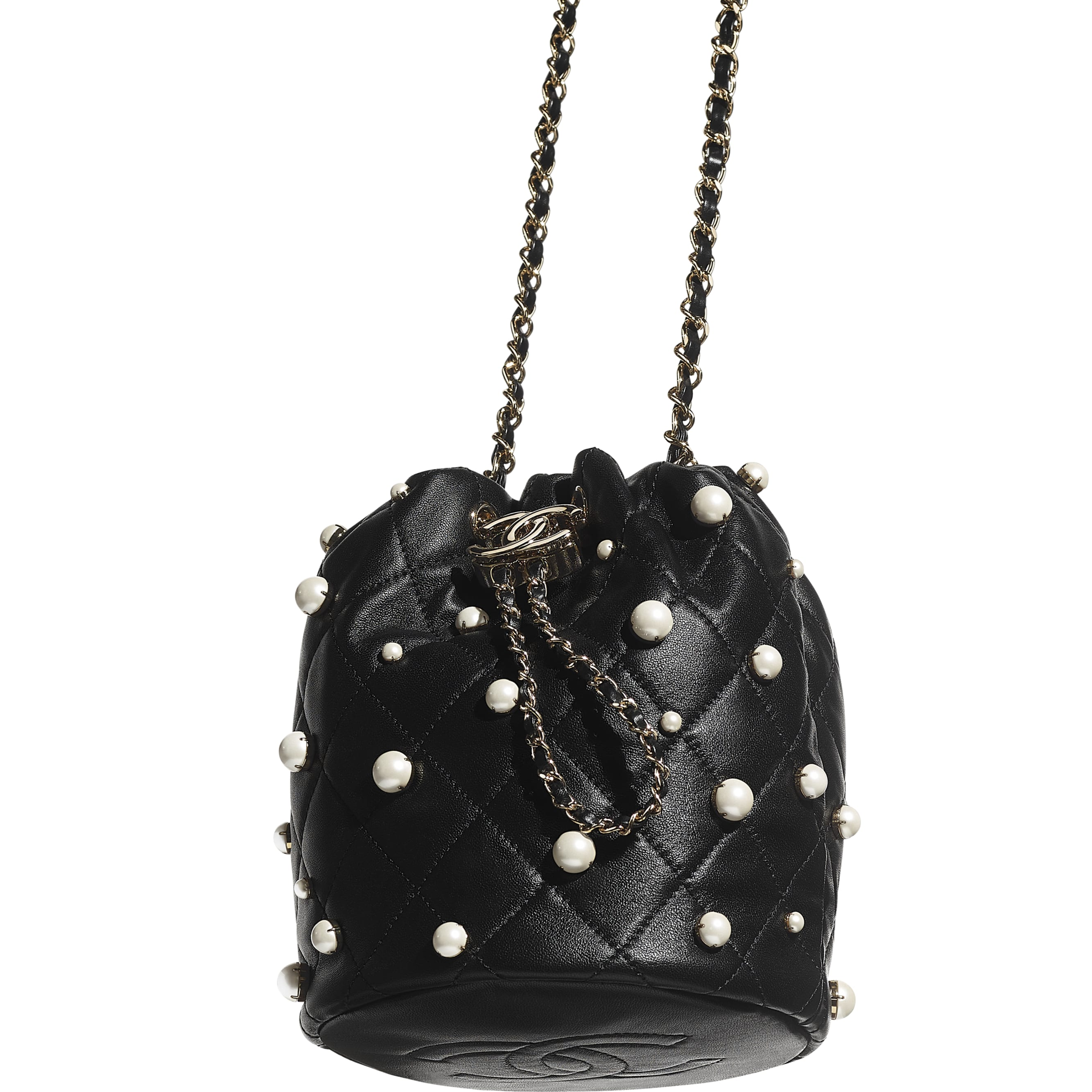 Small Drawstring Bag - Black - Lambskin, Imitation Pearls & Gold Metal - CHANEL - Extra view - see standard sized version
