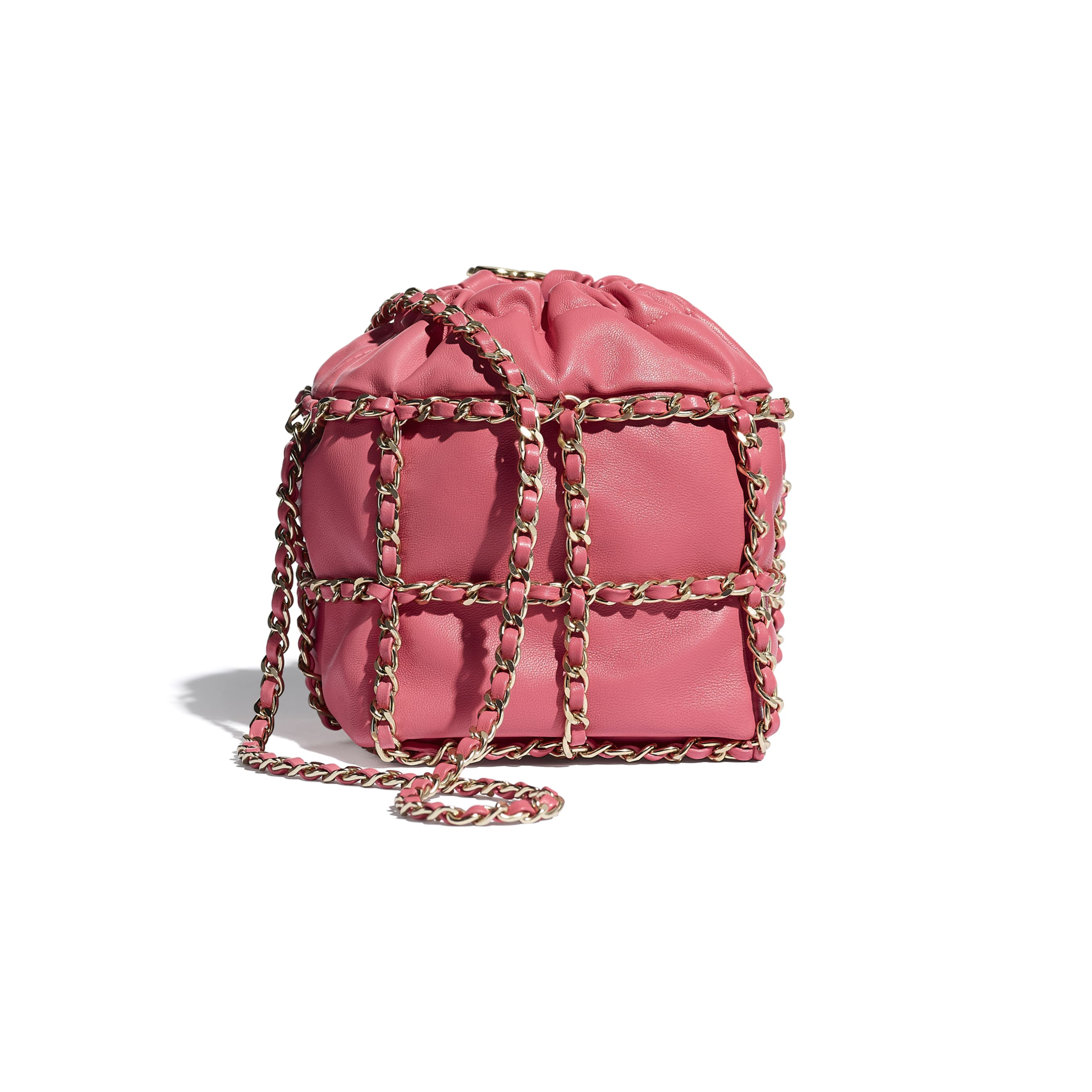 Small Drawstring Bag - Coral - Lambskin & Gold Metal  - CHANEL - Alternative view - see standard sized version