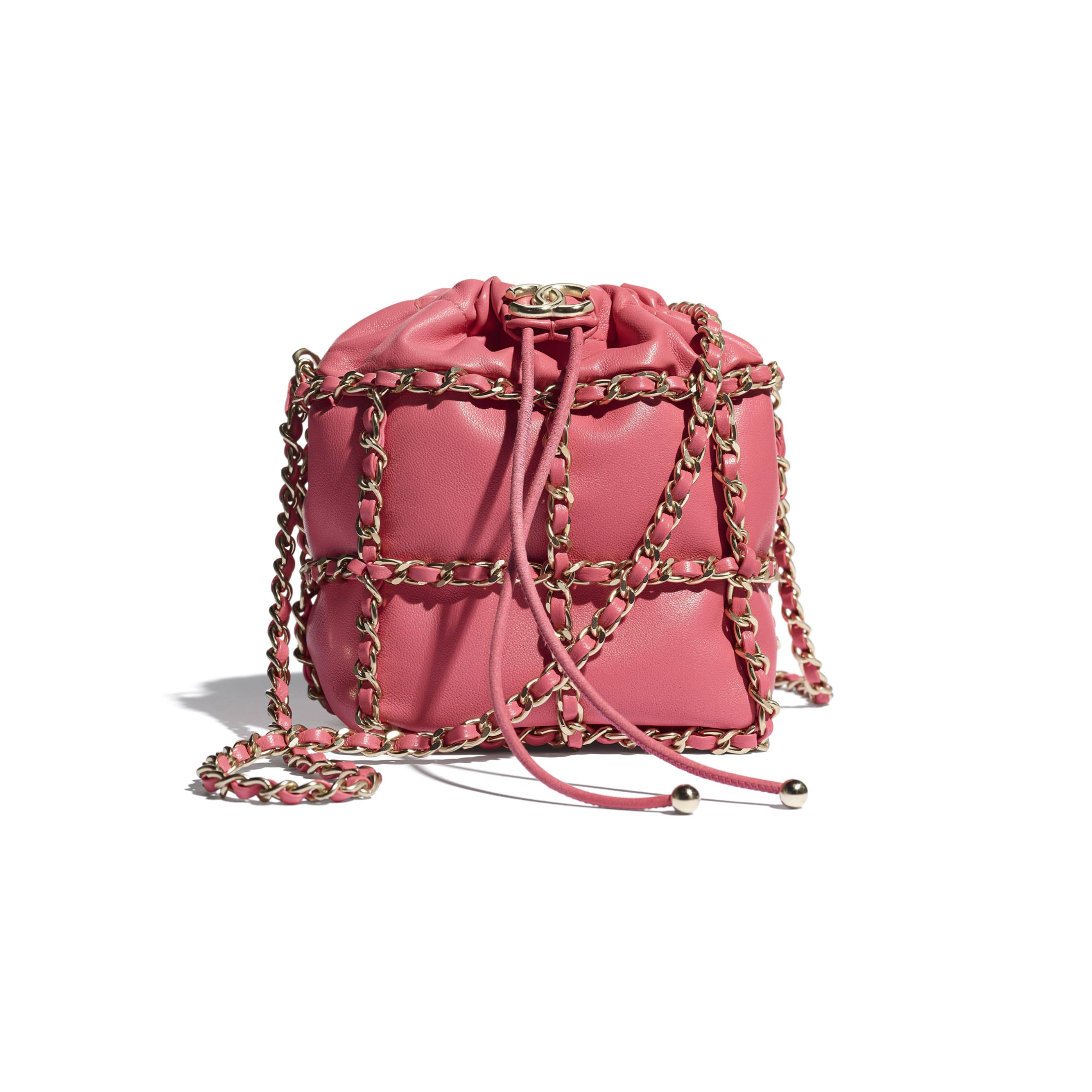 Small Drawstring Bag - Coral - Lambskin & Gold Metal  - CHANEL - Default view - see standard sized version