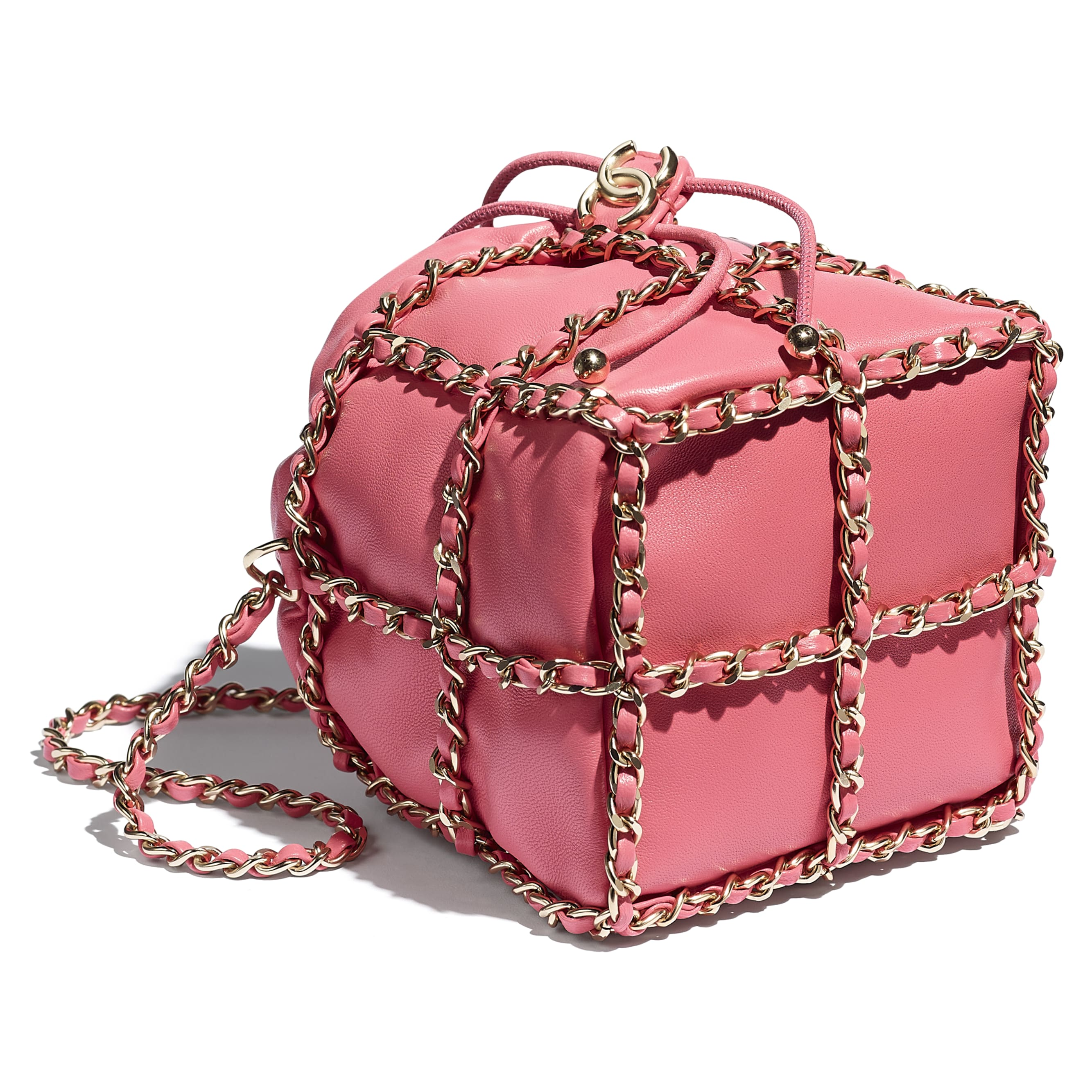 Small Drawstring Bag - Coral - Lambskin & Gold Metal  - CHANEL - Extra view - see standard sized version