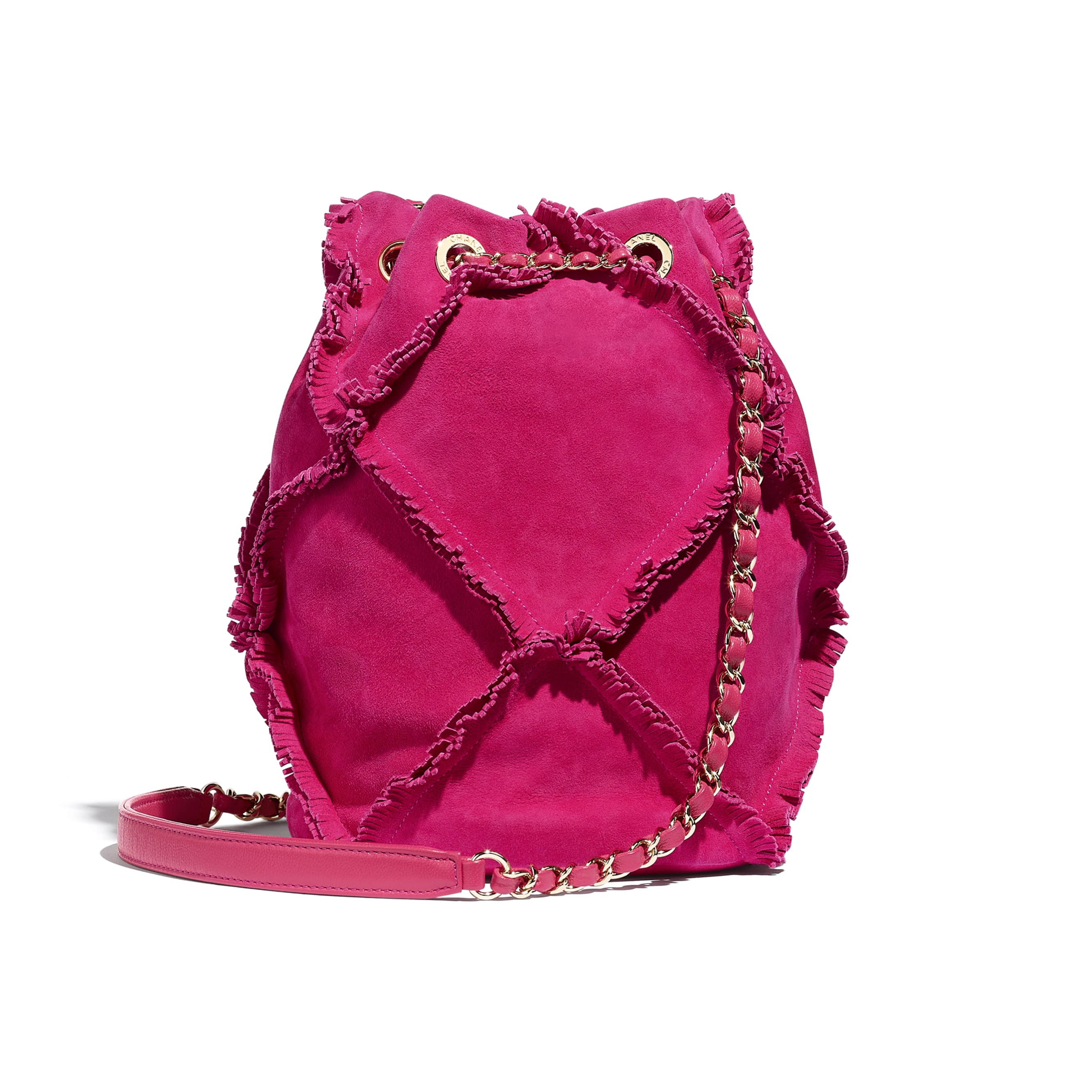 Small Drawstring Bag - Fuchsia - Suede Goatskin & Gold-Tone Metal - Alternative view - see standard sized version