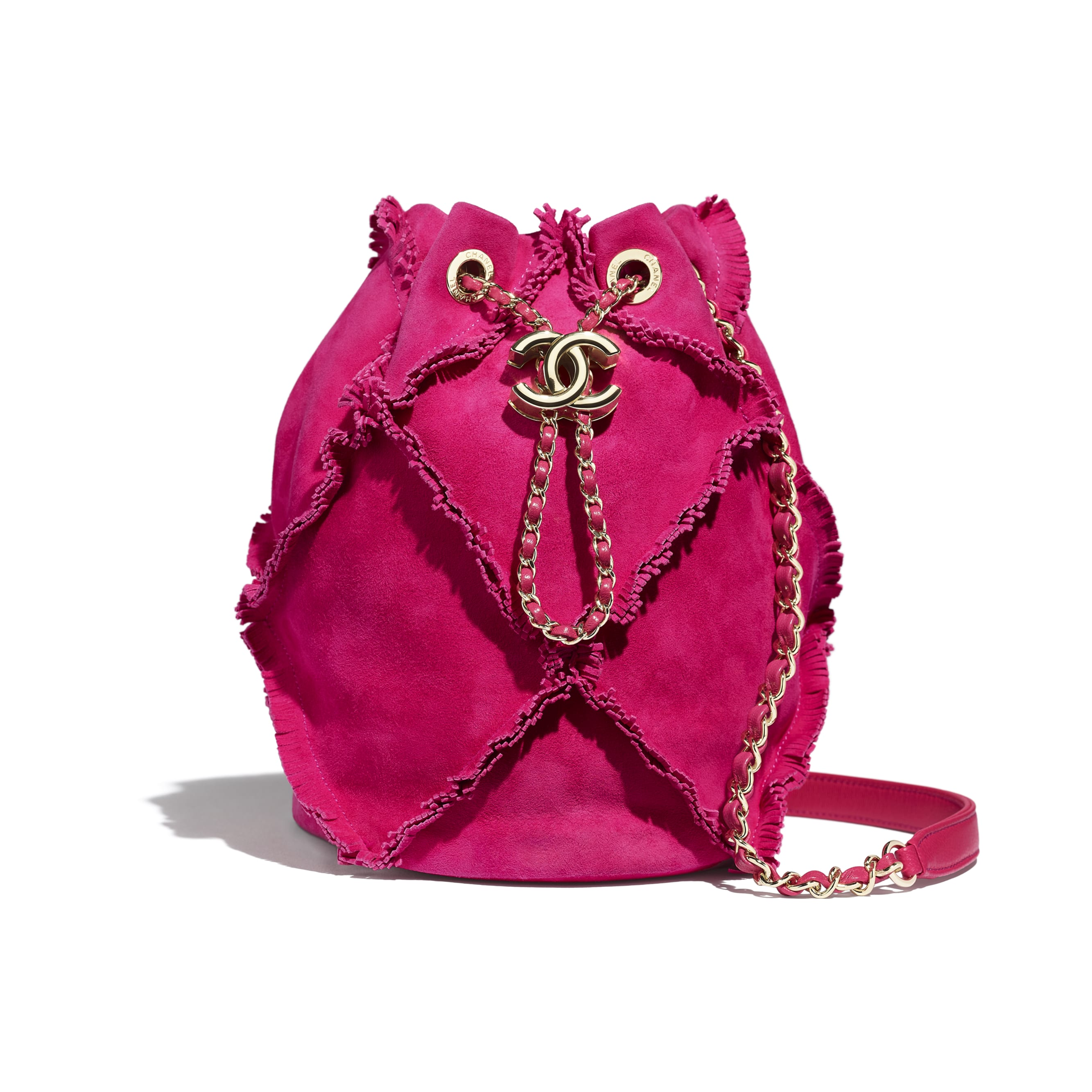 Small Drawstring Bag - Fuchsia - Suede Goatskin & Gold-Tone Metal - Default view - see standard sized version