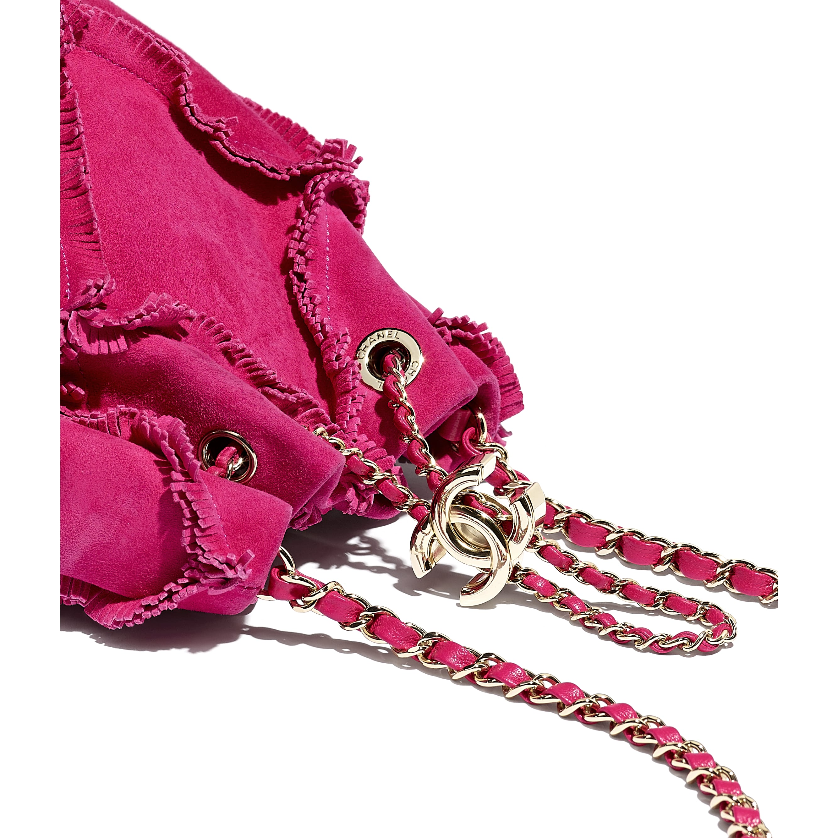 Small Drawstring Bag - Fuchsia - Suede Goatskin & Gold-Tone Metal - CHANEL - Extra view - see standard sized version