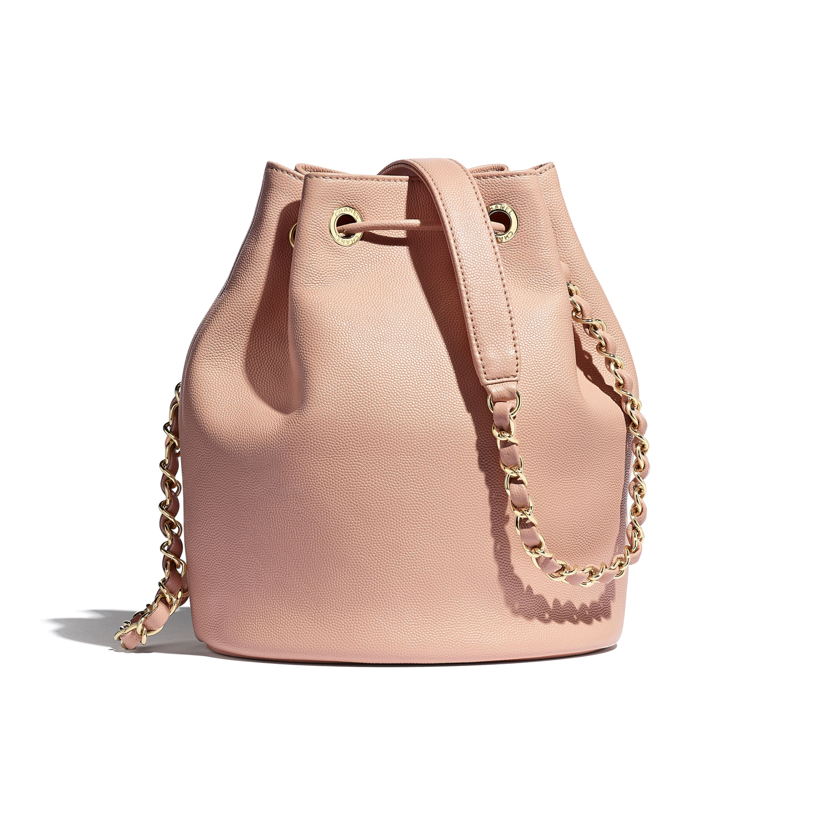 Small Drawstring Bag - Light Pink - Grained Calfskin, Studs & Gold-Tone Metal - Alternative view - see standard sized version