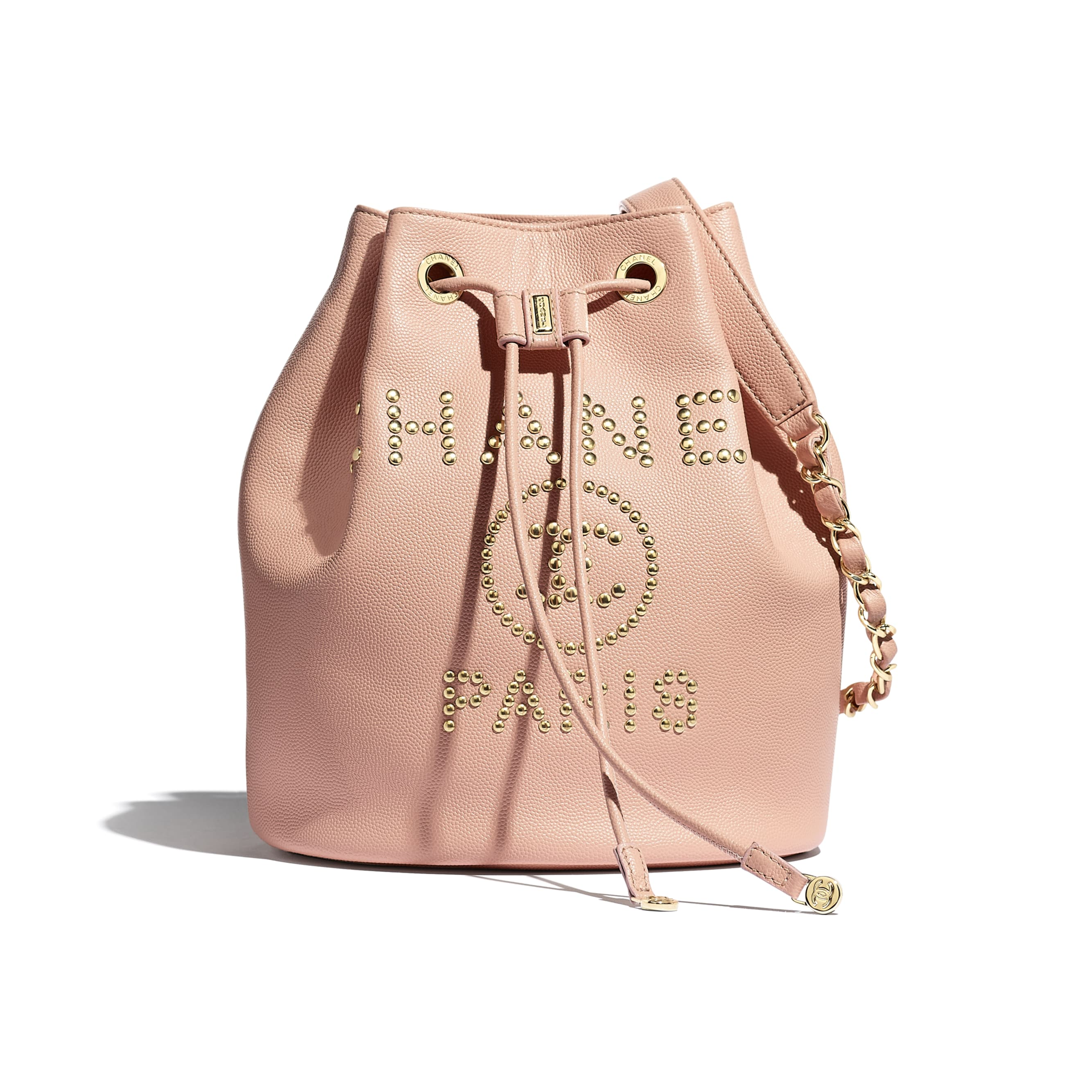 Small Drawstring Bag - Light Pink - Grained Calfskin, Studs & Gold-Tone Metal - Default view - see standard sized version