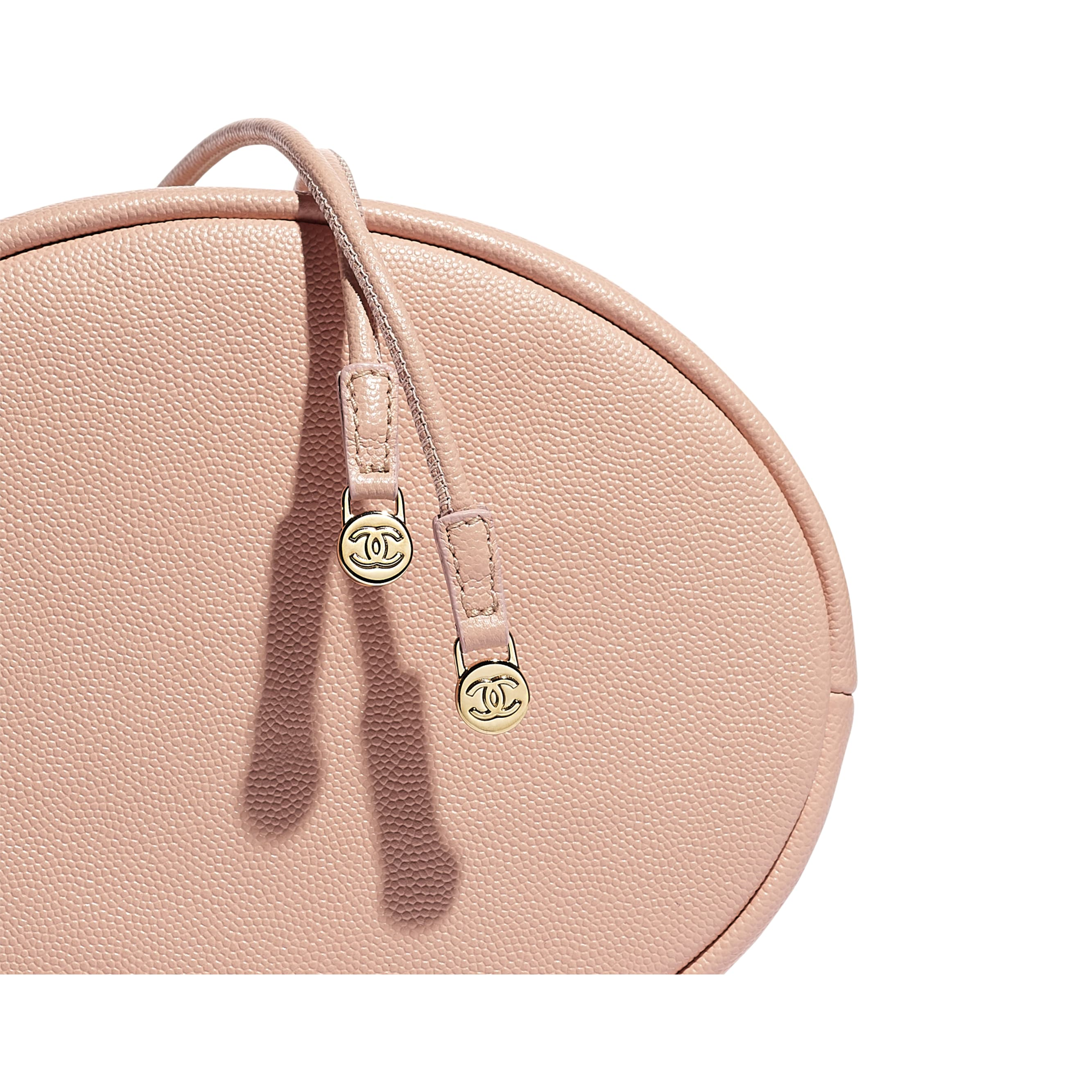 Small Drawstring Bag - Light Pink - Grained Calfskin, Studs & Gold-Tone Metal - Extra view - see standard sized version
