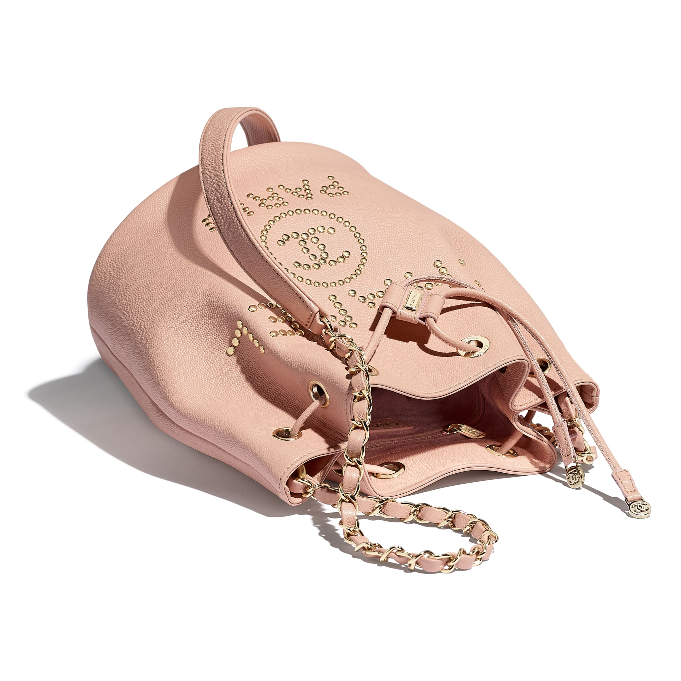 Small Drawstring Bag - Light Pink - Grained Calfskin, Studs & Gold-Tone Metal - Other view - see standard sized version