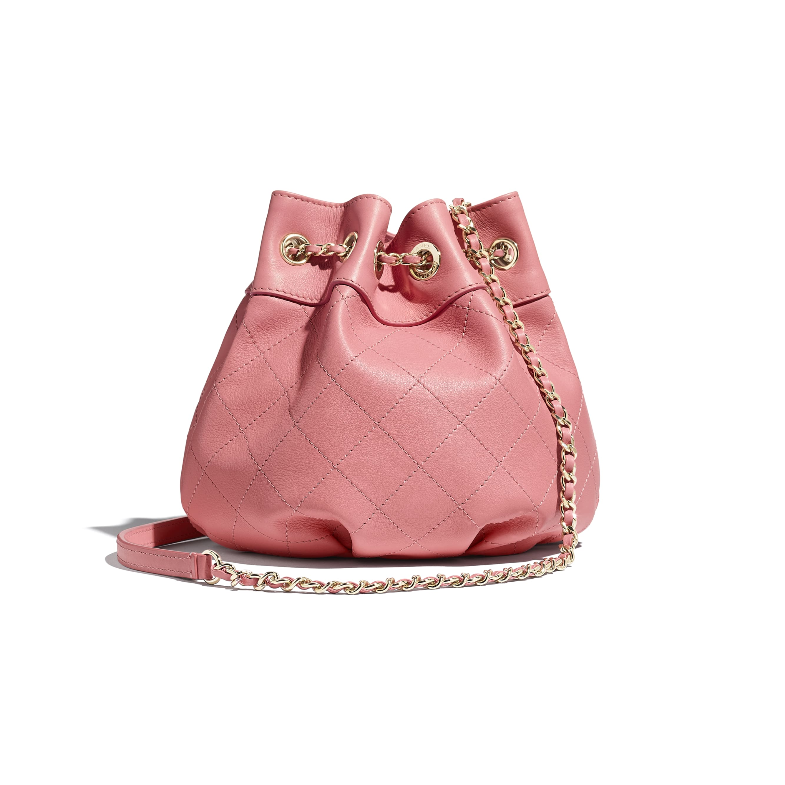 Small Drawstring Bag - Pink - Calfskin & Gold-Tone Metal - CHANEL - Alternative view - see standard sized version