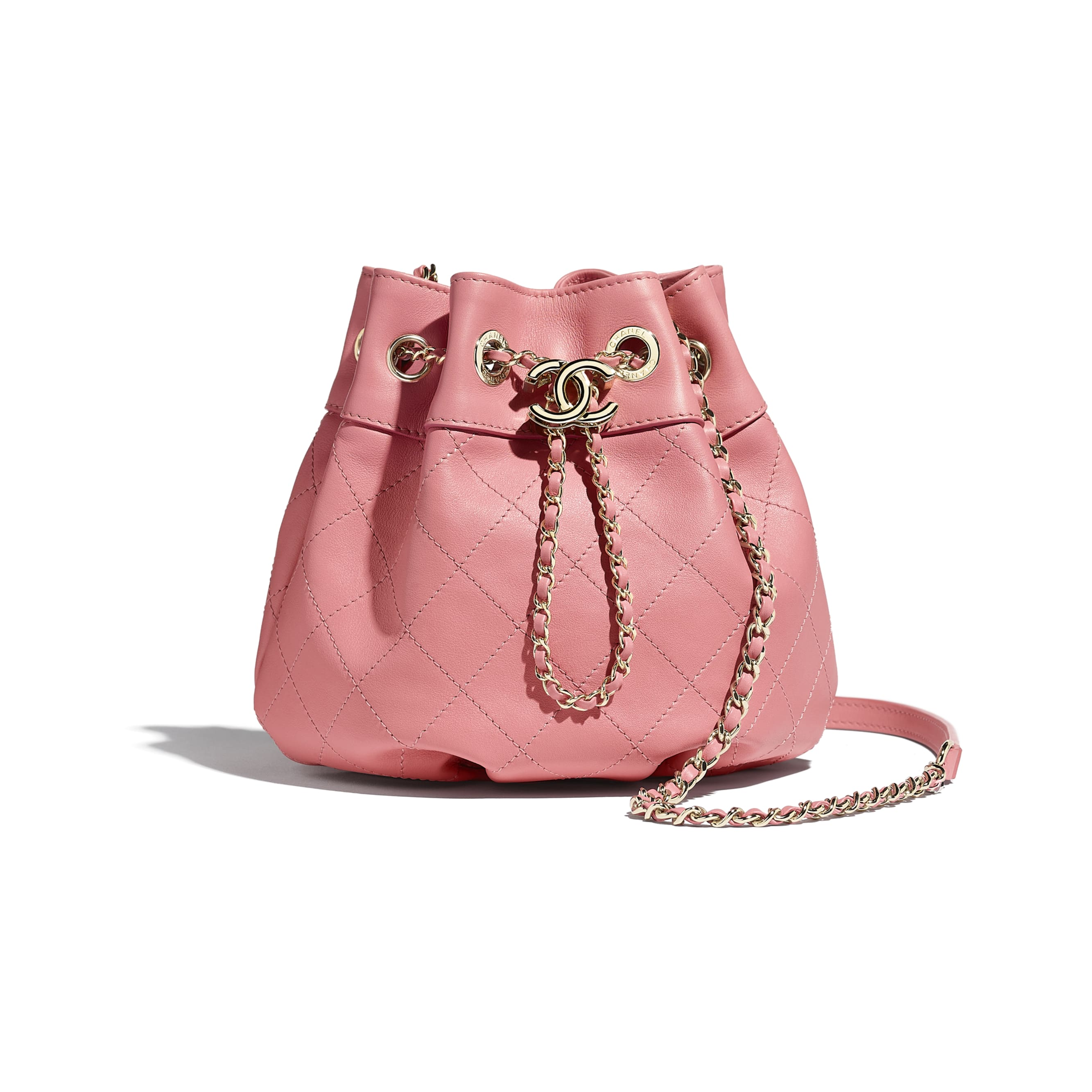 Small Drawstring Bag - Pink - Calfskin & Gold-Tone Metal - CHANEL - Default view - see standard sized version