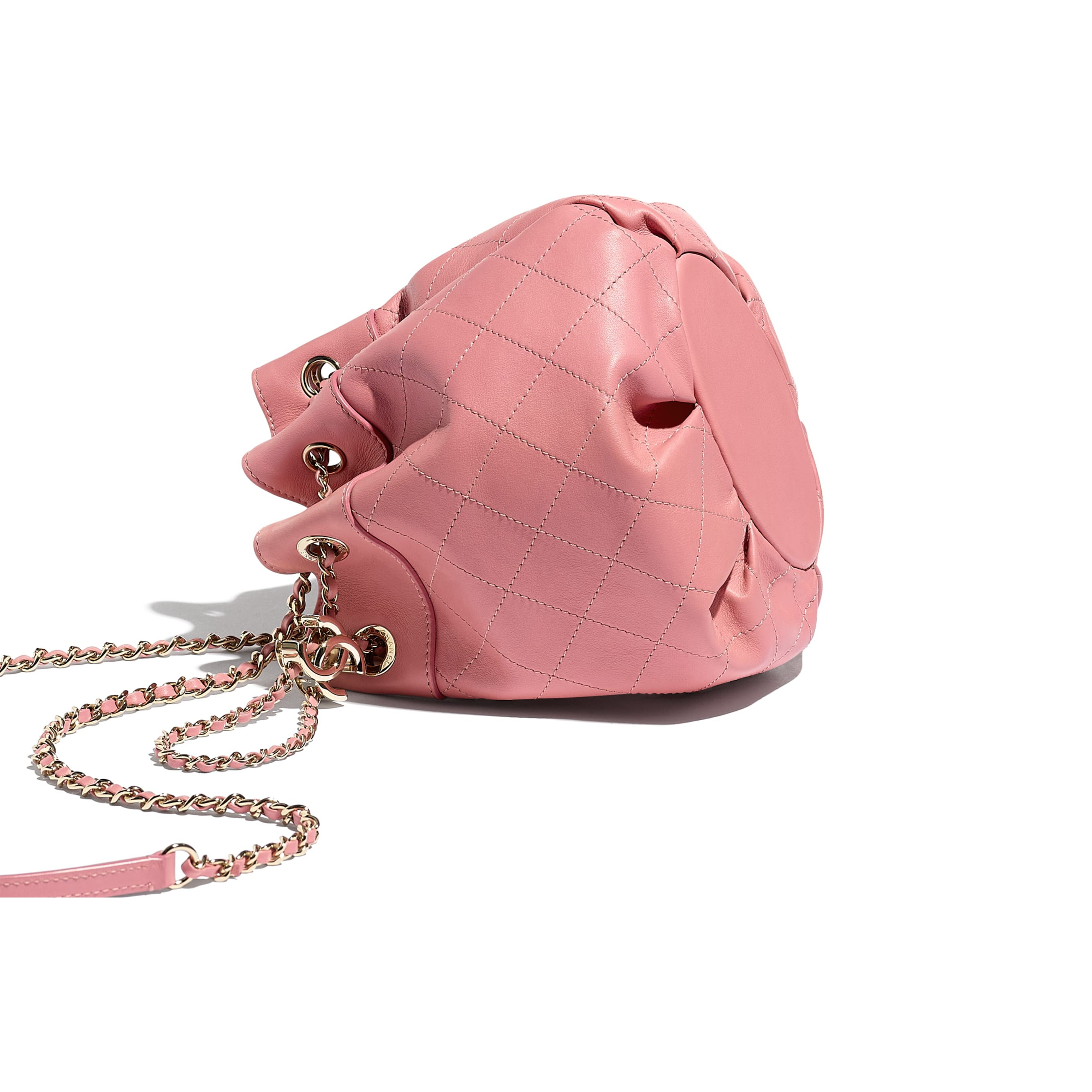 Small Drawstring Bag - Pink - Calfskin & Gold-Tone Metal - CHANEL - Extra view - see standard sized version