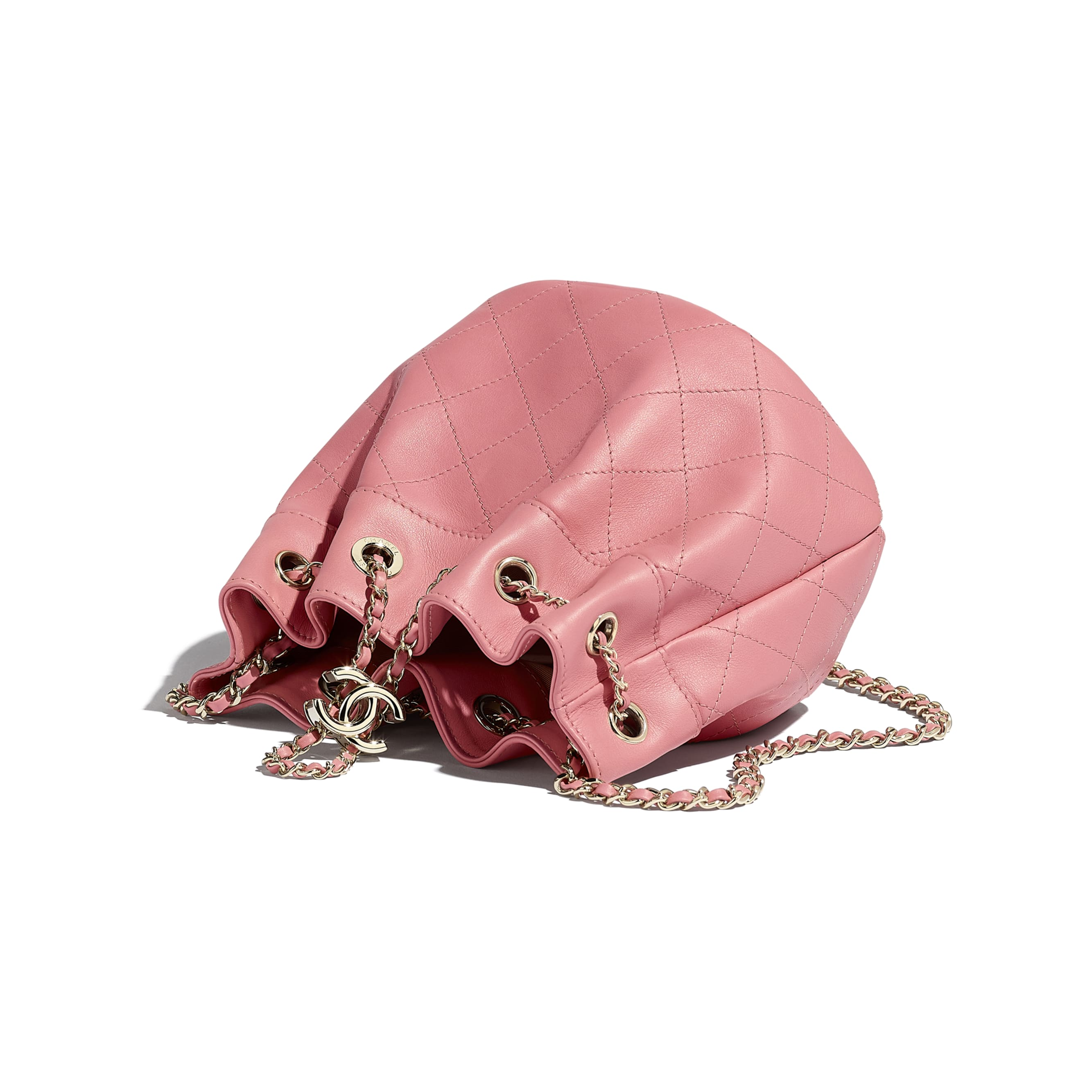 Small Drawstring Bag - Pink - Calfskin & Gold-Tone Metal - CHANEL - Other view - see standard sized version